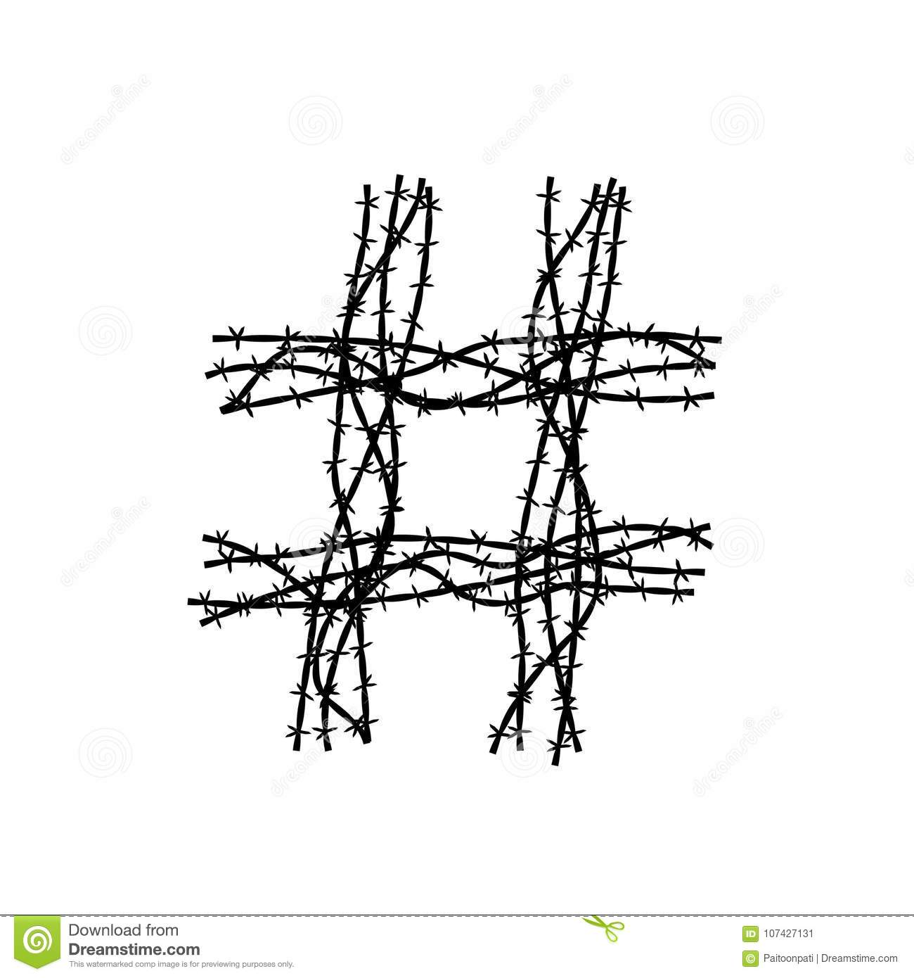 Hashtag Symbol Made From Barbed Wire Concept Idea Illustration Black ...
