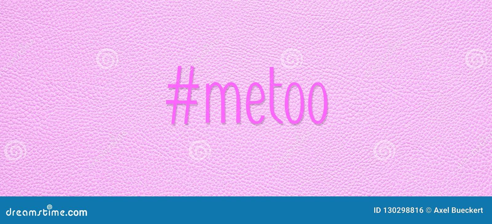 Hashtagmetoo op de roze achtergrond van de leertextuur