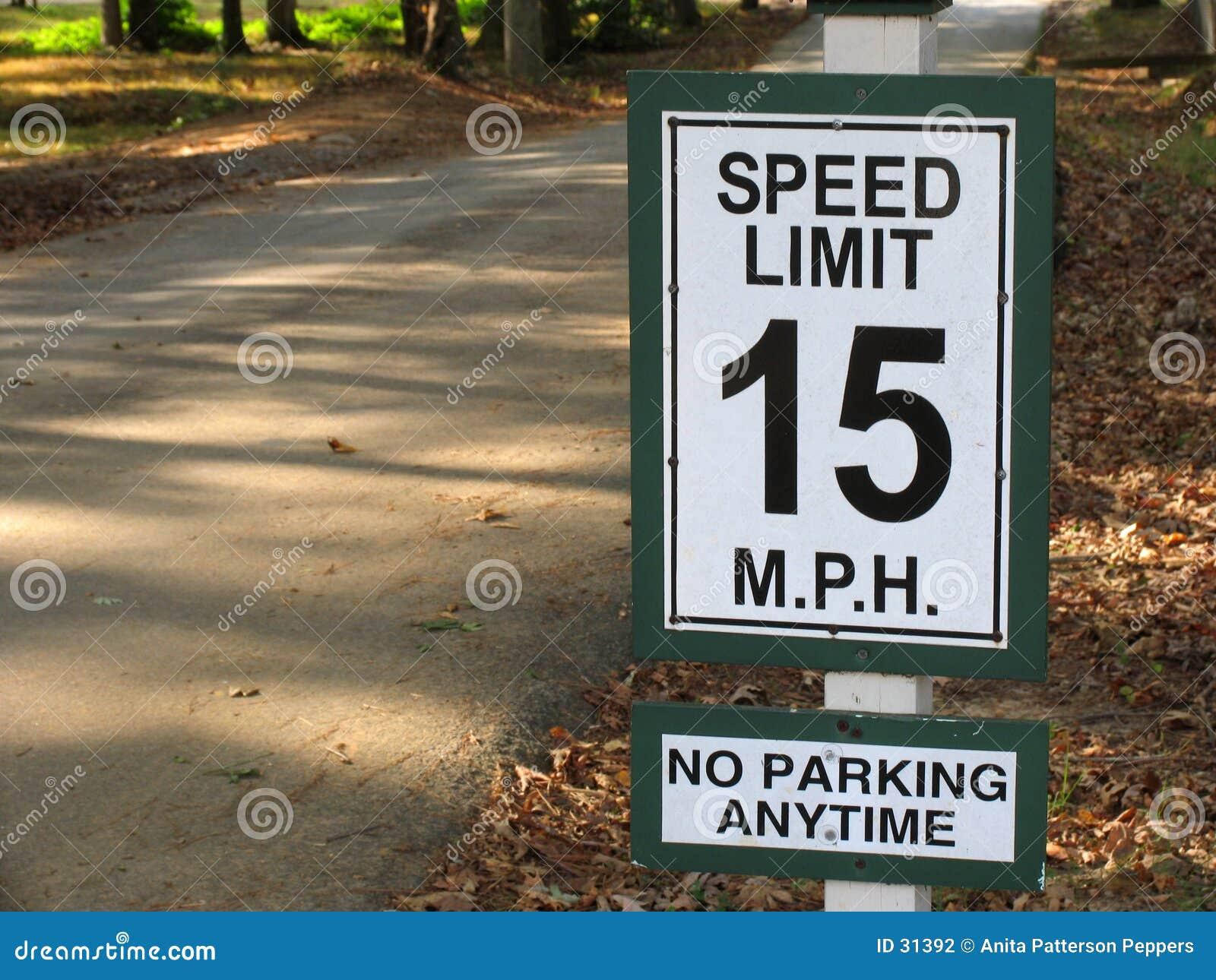 Hastighet för gräns 15mph