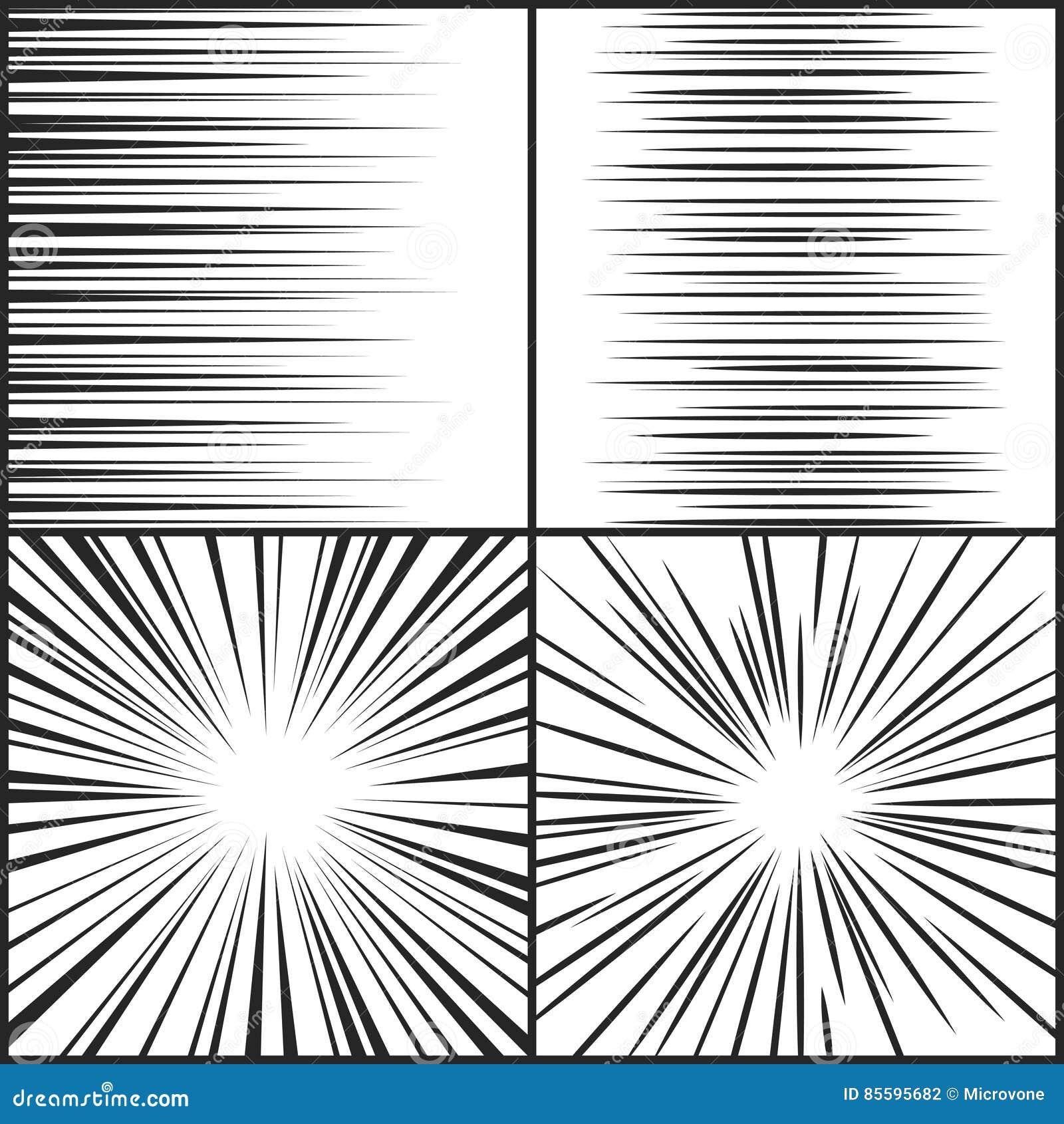 Hastighetslinjer, horisontal för rörelseremsamanga komisk och radiell effektvektoruppsättning