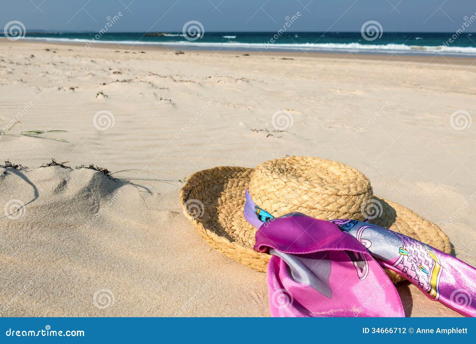 Hat on beach stock photo. Image of surf 4c219edbebd