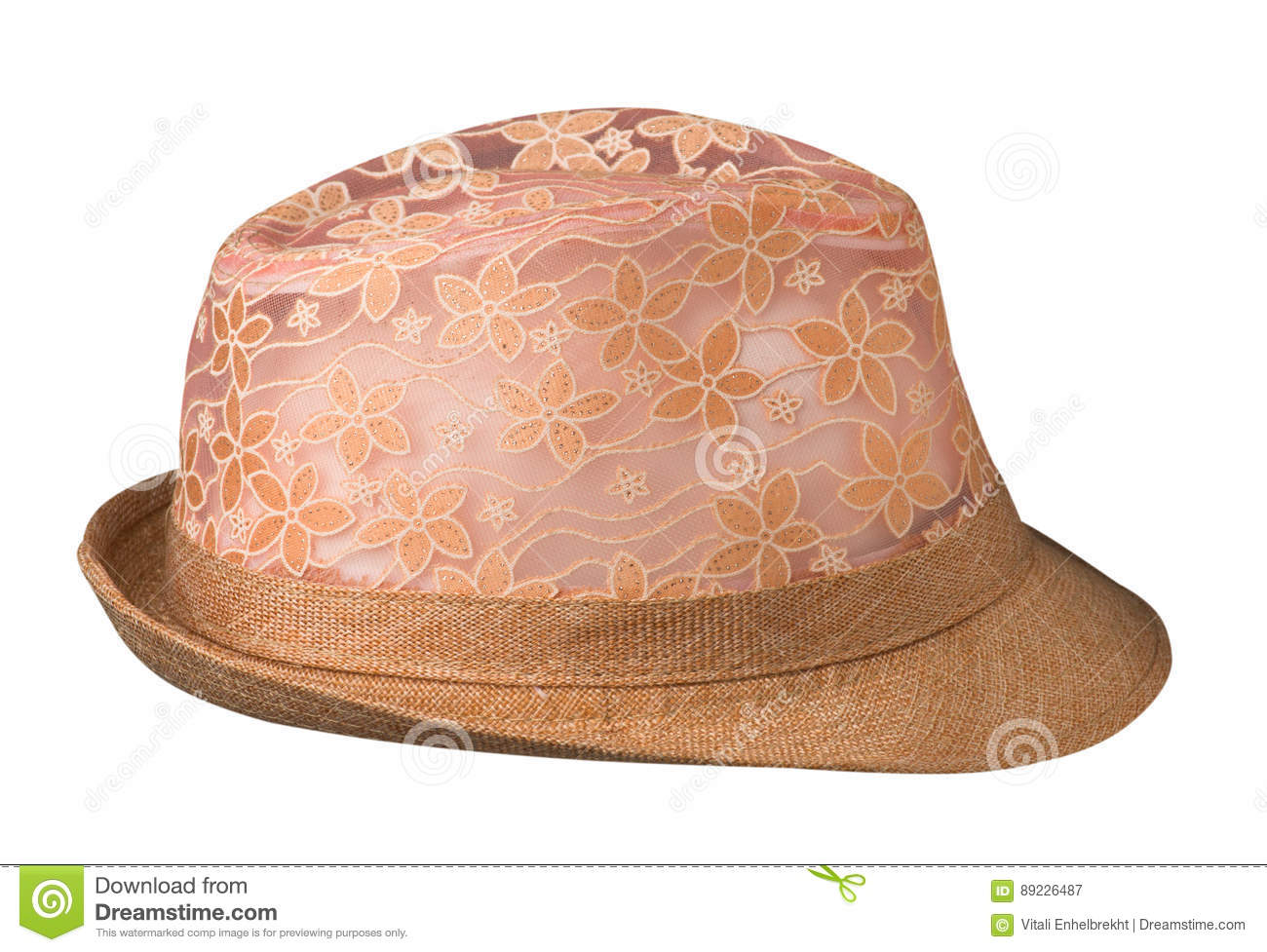 Hat with a brim.hat isolated on white background