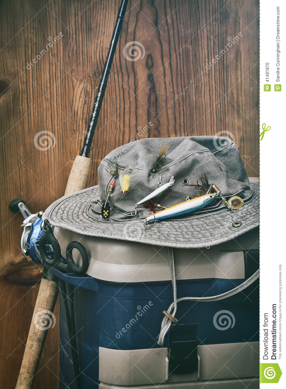 Hat with fishing equipment stock photo image of fresh for Wall fishing tools