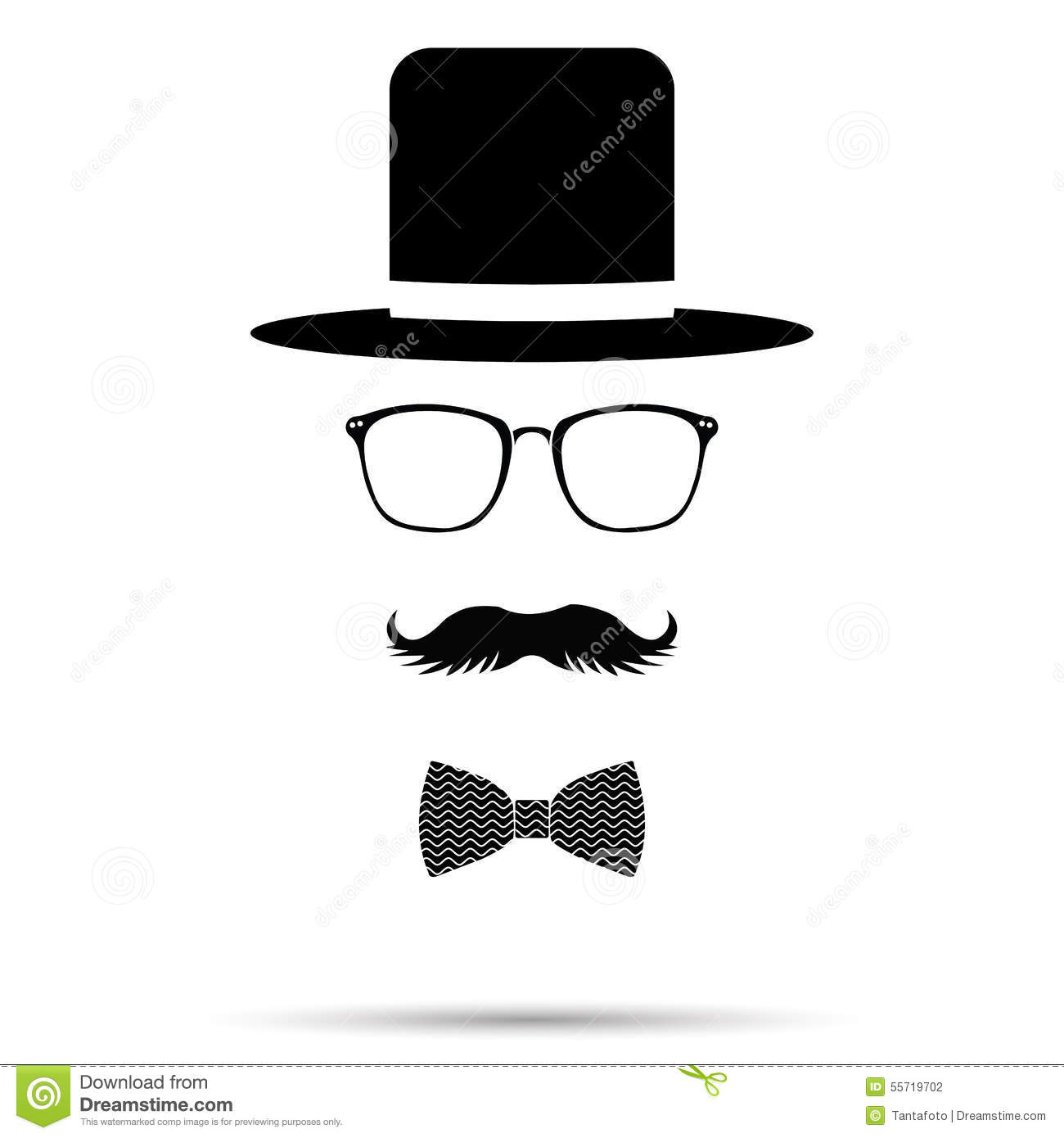 Hat Glasses Bowtie And Mustache Gentleman Set Vector Illustra