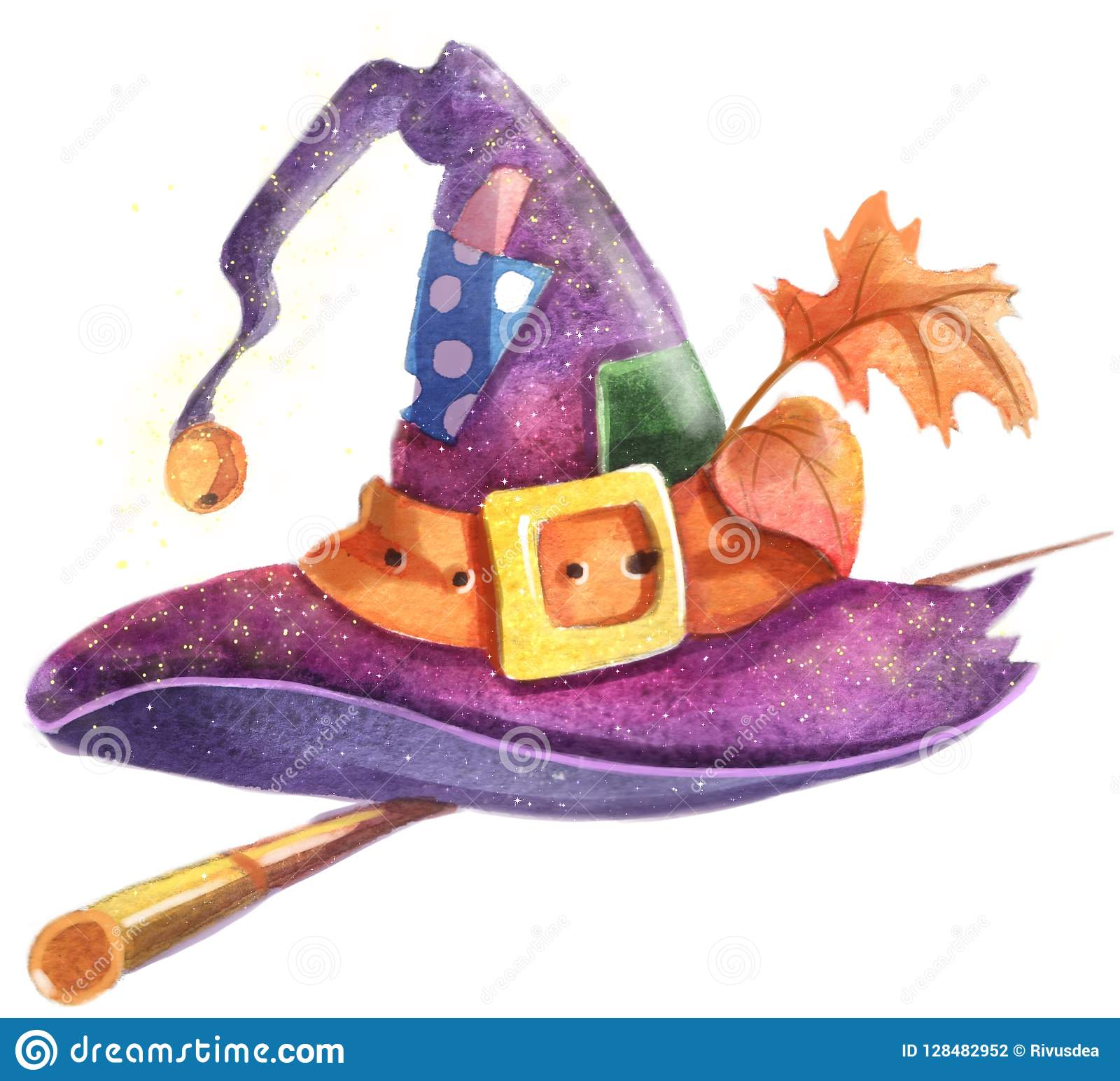 Hat Of Halloween Witch Watercolor Clipart Picture. Stock ...