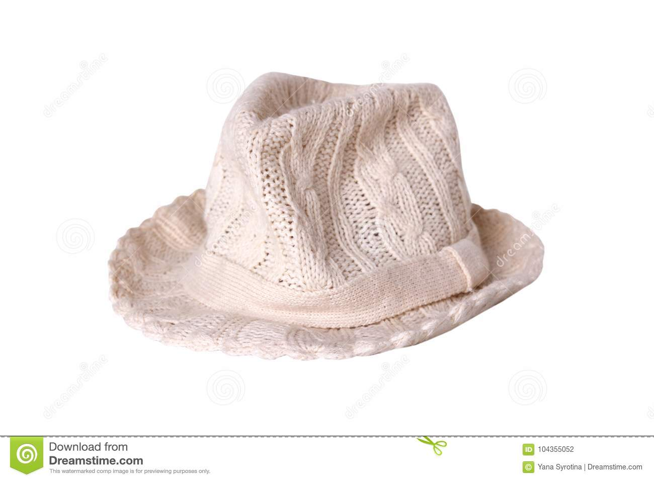 e4b116679 Hat Knitted Isolated.Fashion Accessory.Female Headware. Stock Photo ...