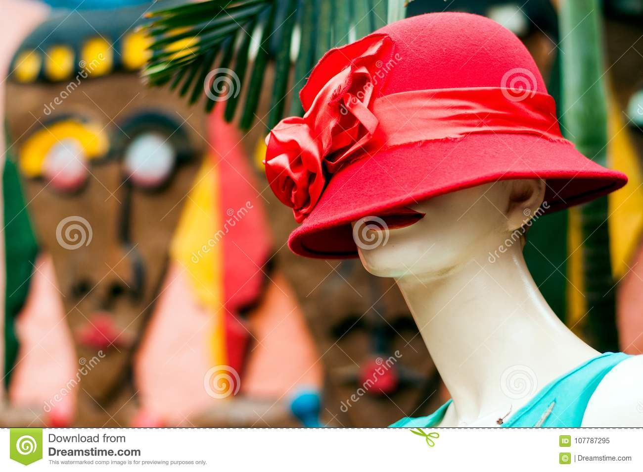 677646565b4ed Store mannequin with red hat in Pioneer Mall