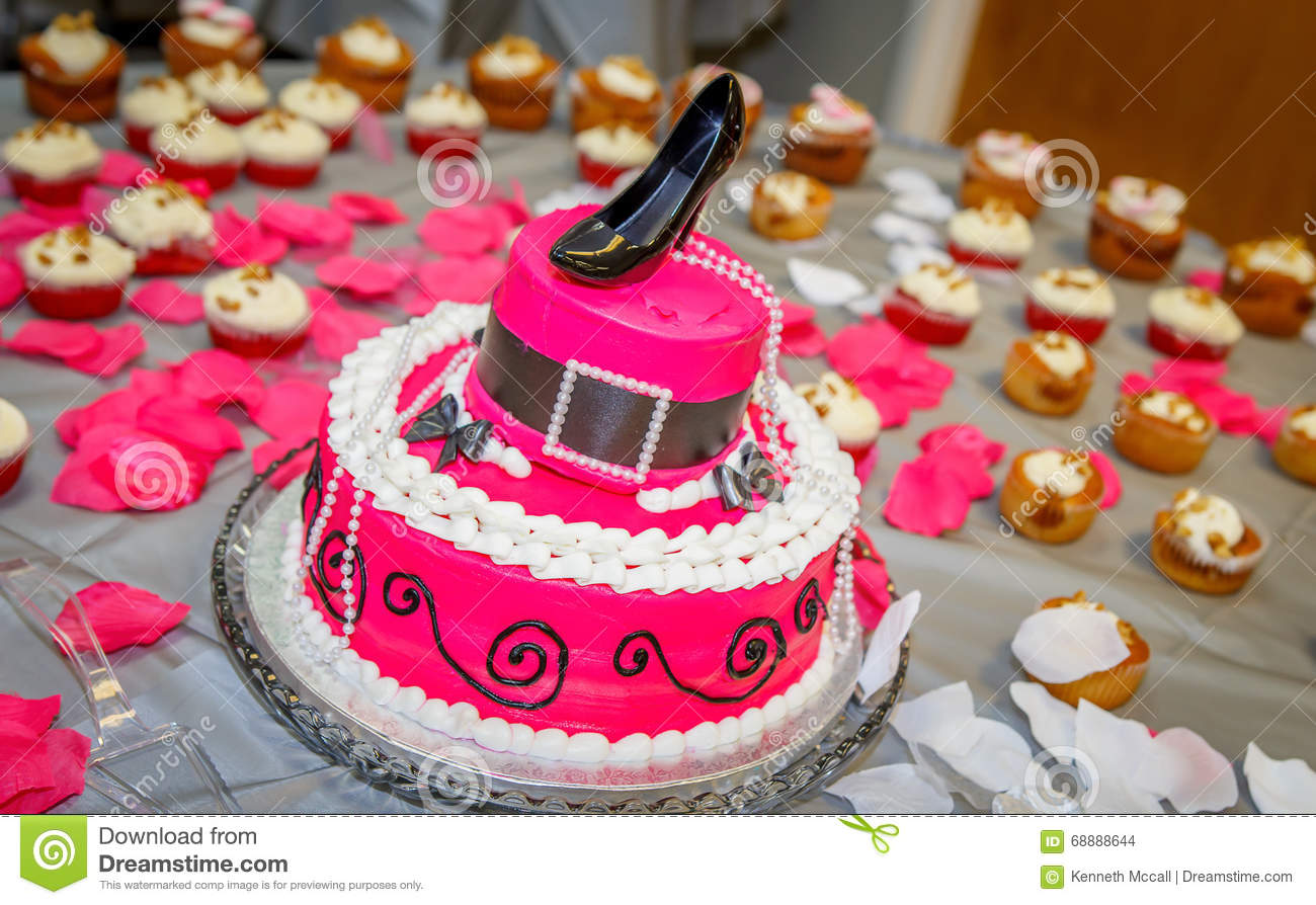 Hat Shaped Birthday Cake With Chlorofram Pump Shoe As Crown Stock