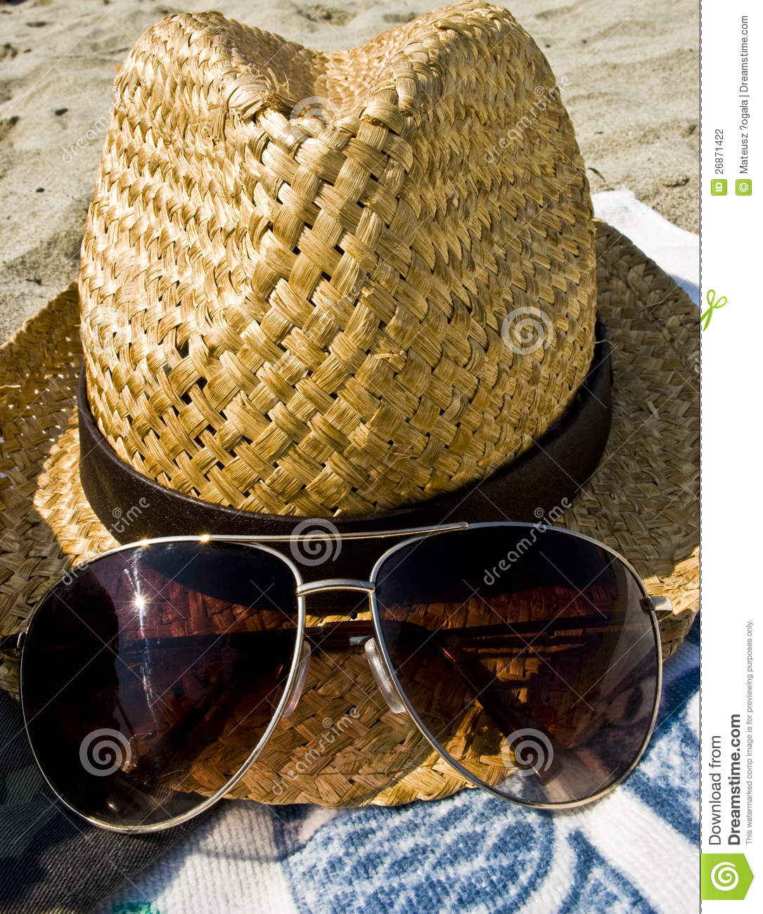 Hat, Sunglasses And Towel On The Beach, Holiday Co Stock ...