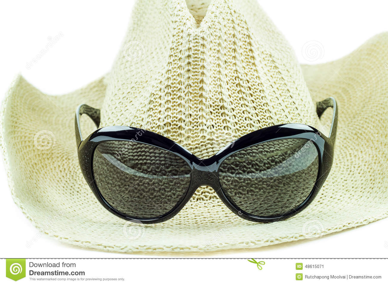Hat And Sunglasses Isolated On White Background Royalty ...