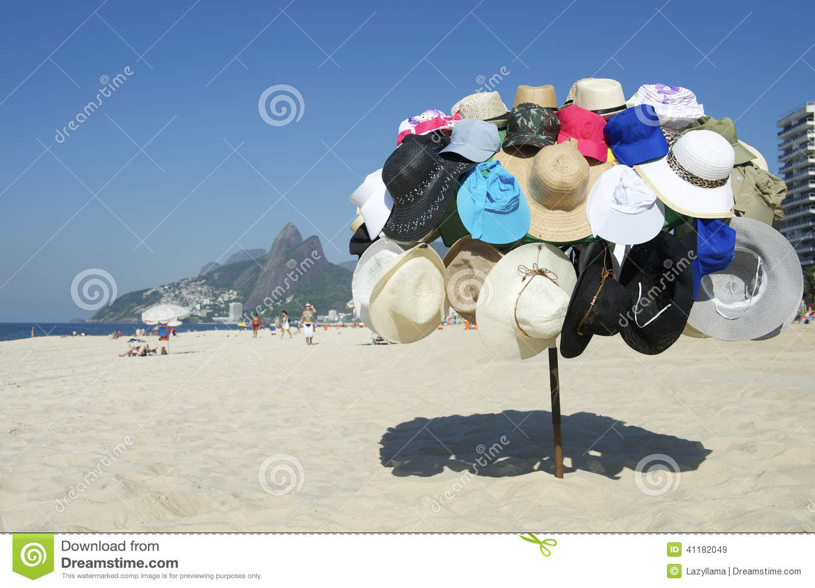 Display of beach vendor selling hats on Ipanema Beach Rio de Janeiro Brazil b90dc967797