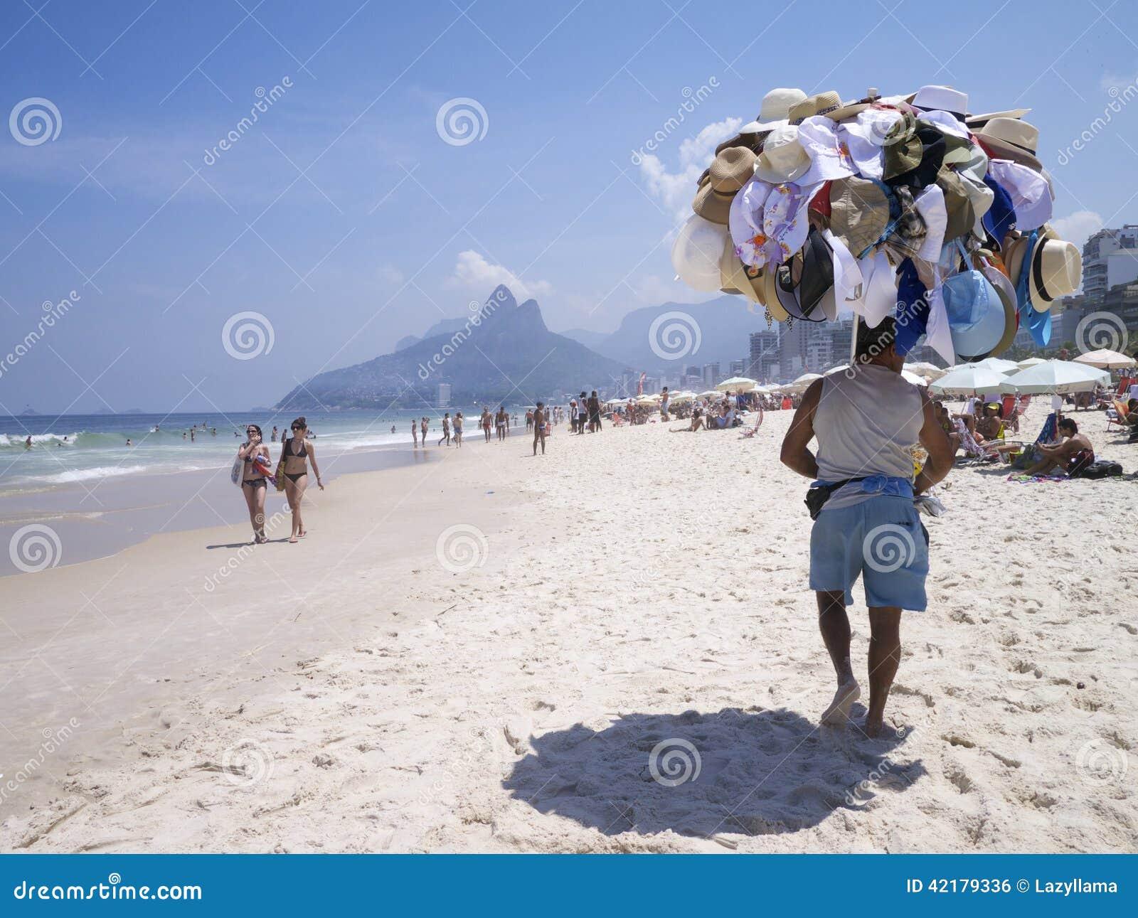 Hat Vendor Ipanema Beach Rio De Janeiro Skyline Editorial Photo ... ab7043defb4