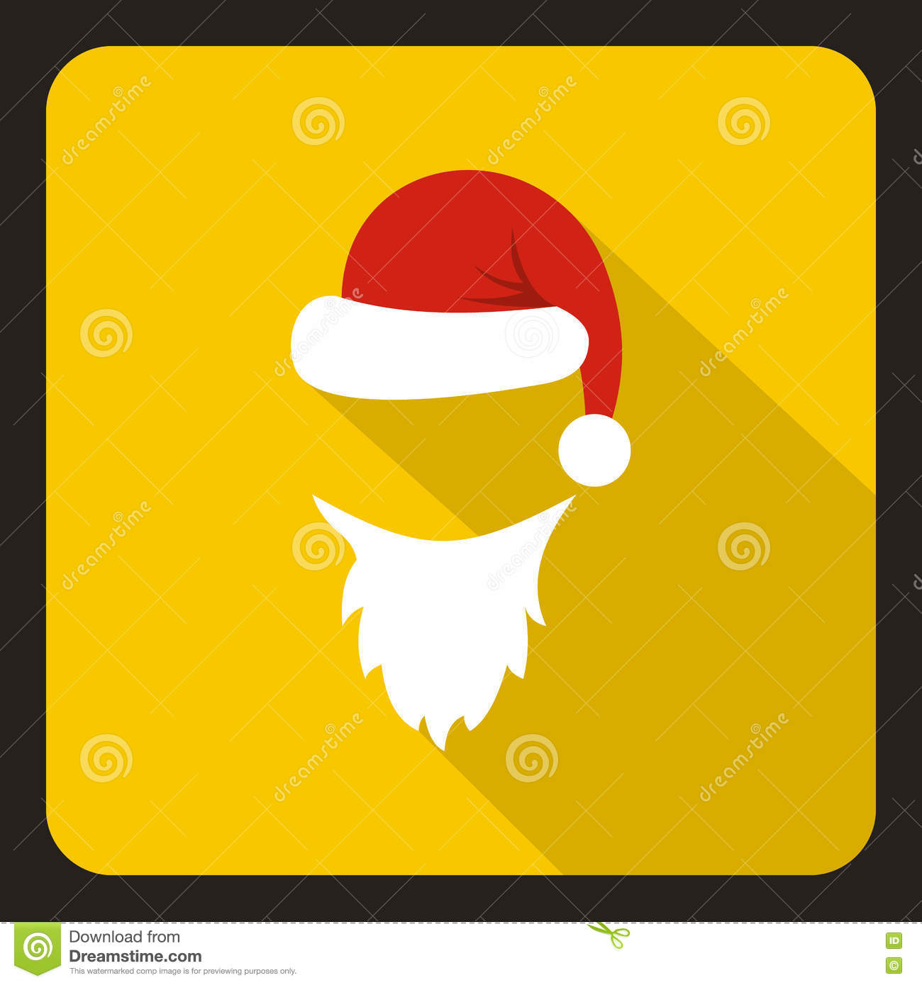 0dcbc76048f Hat and white beard of Santa Claus icon in flat style with long shadow. New  year symbol vector illustration