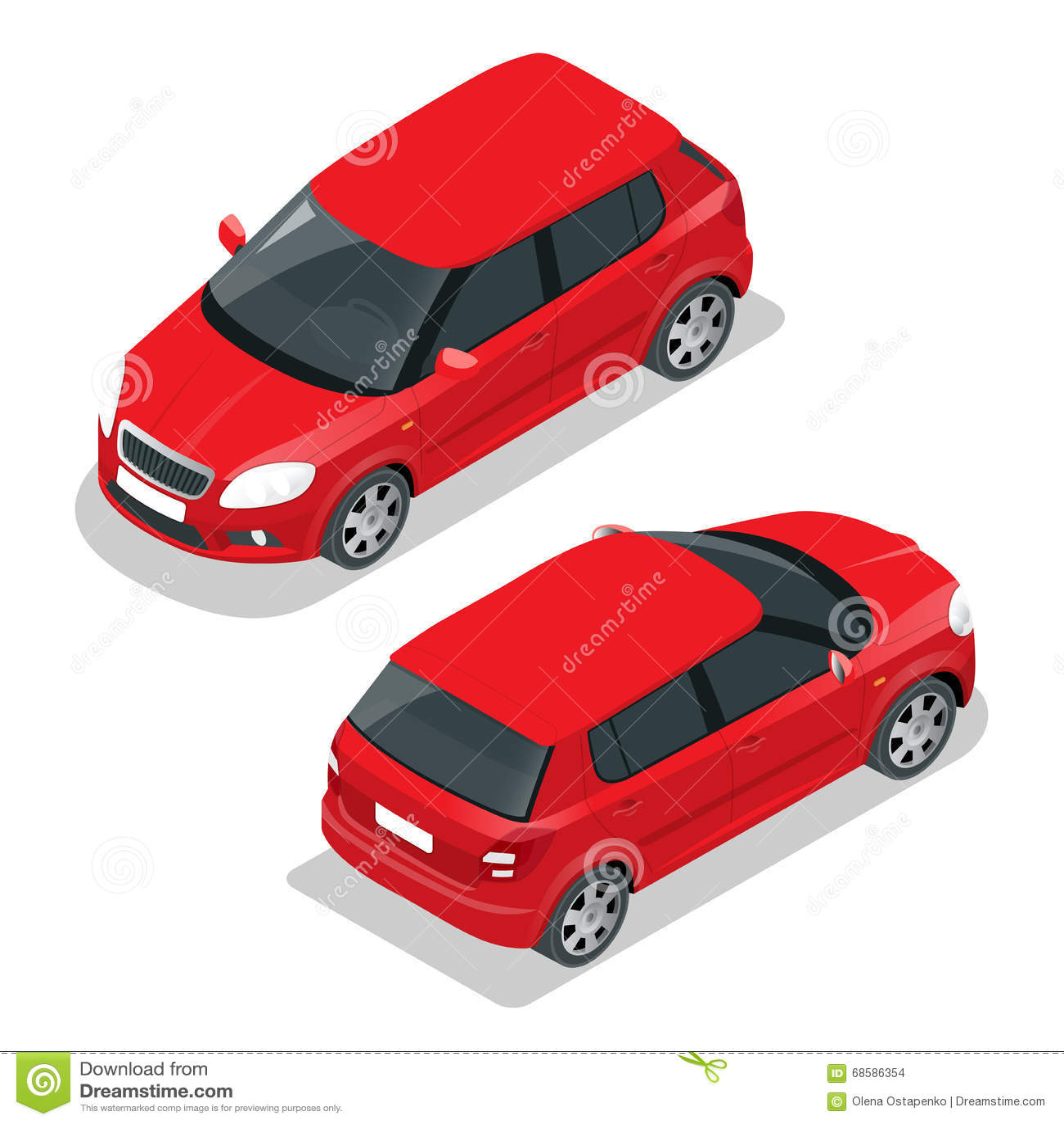 Hatchback Car. Flat 3d Vector Isometric Illustration. High Quality ...