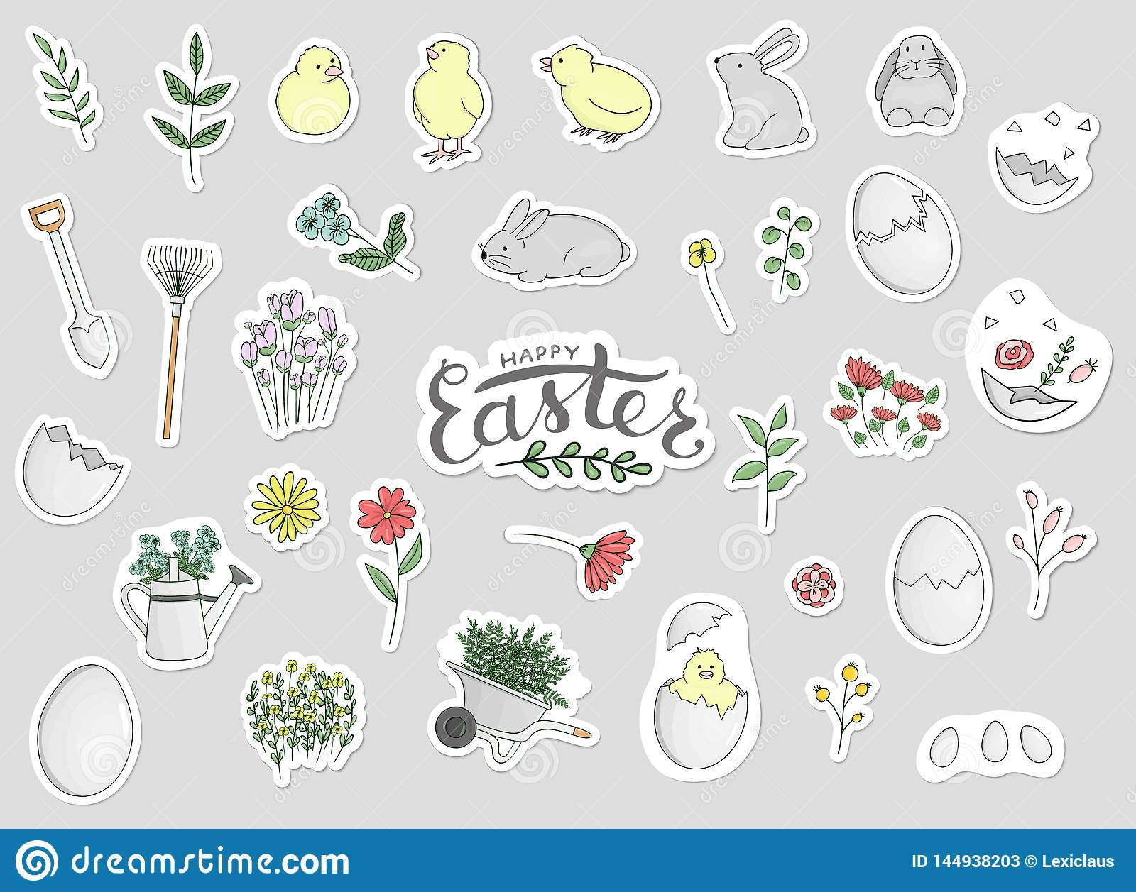 Vector set of Easter stickers