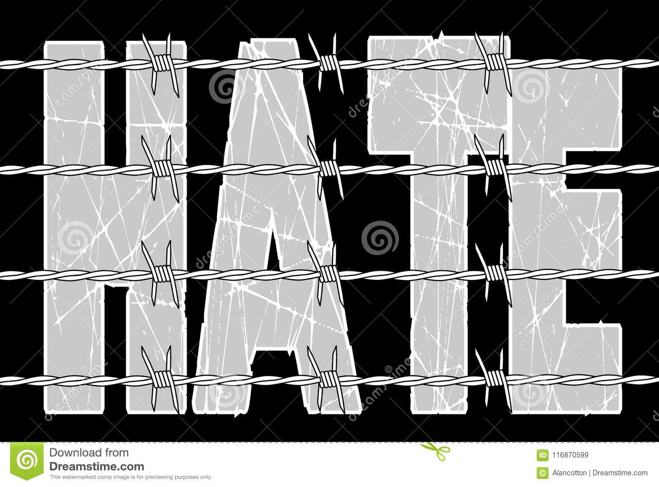 Hate Behind Barbed Wire Background Stock Vector - Illustration of ...