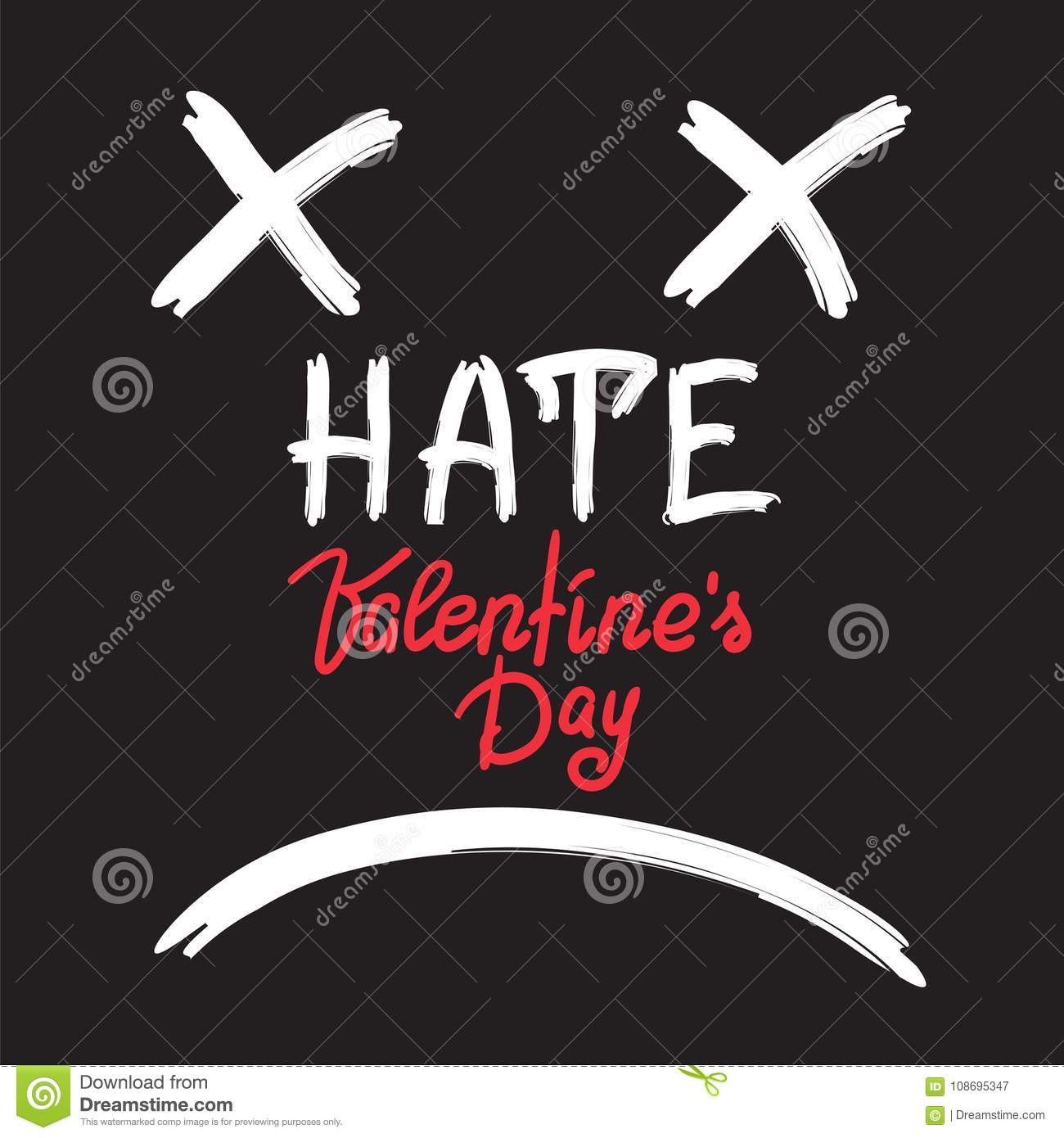 Hate Valentines Day Handwritten Anti Card Stock Illustration