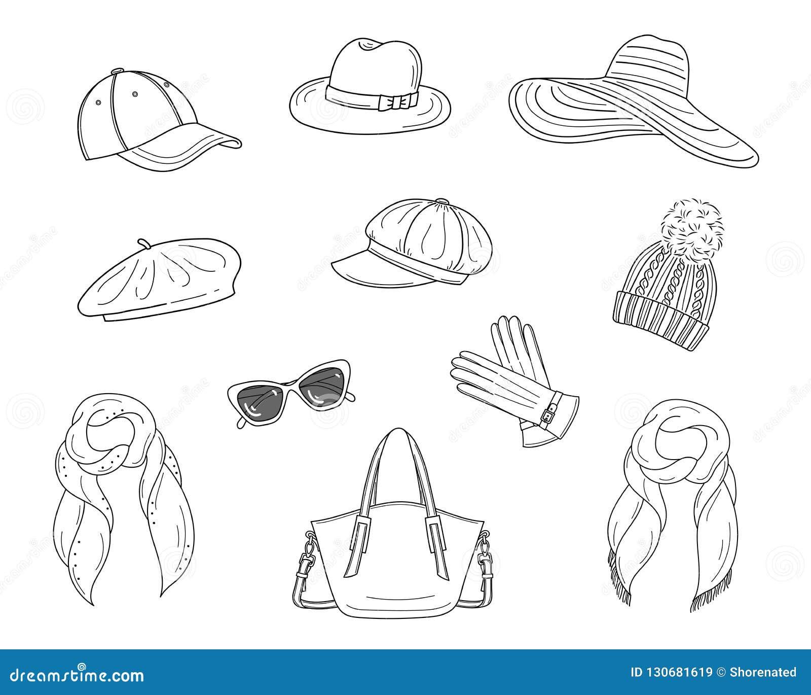 6e45a24c Hats Collection, Vector Sketch Illustration. Stock Vector ...