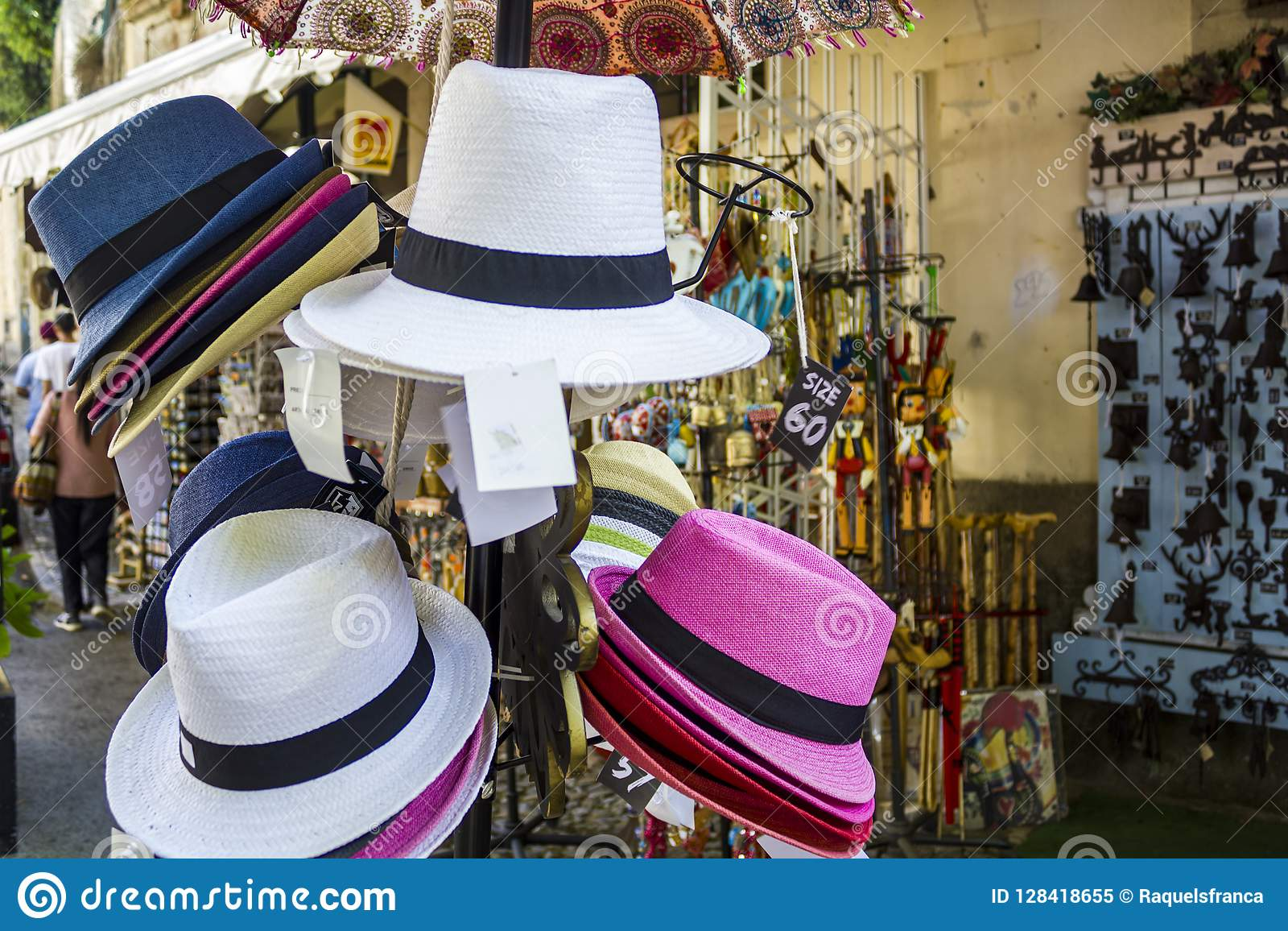 462847b2 Hats For Sale In Souvenir Shop Editorial Image - Image of kiosk ...