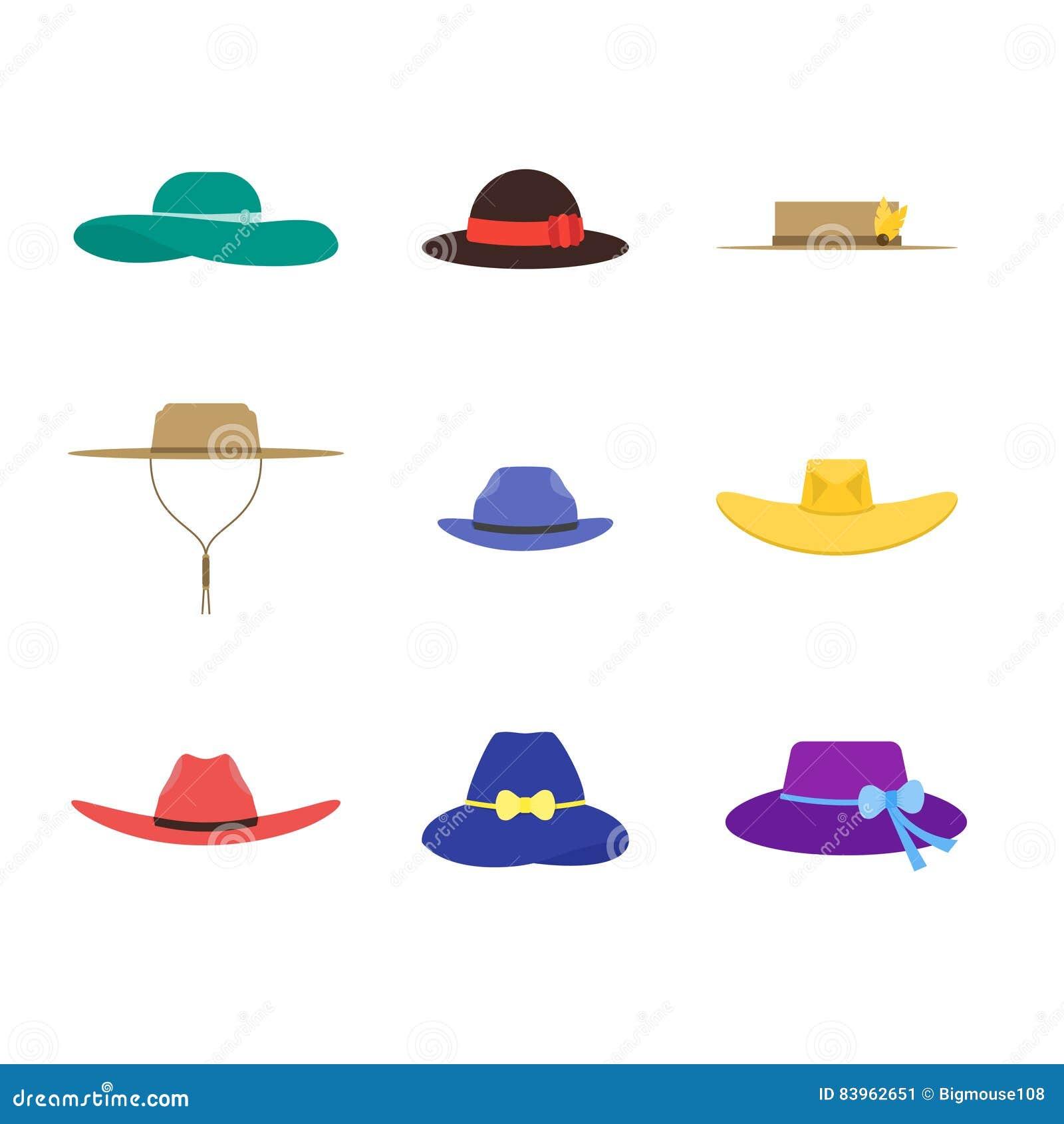 5660dd74bf373 Cartoon Color Hats Set Fashion for Men and Women Flat Design Style Personal  Seasonal Cap. Vector illustration. More similar stock illustrations