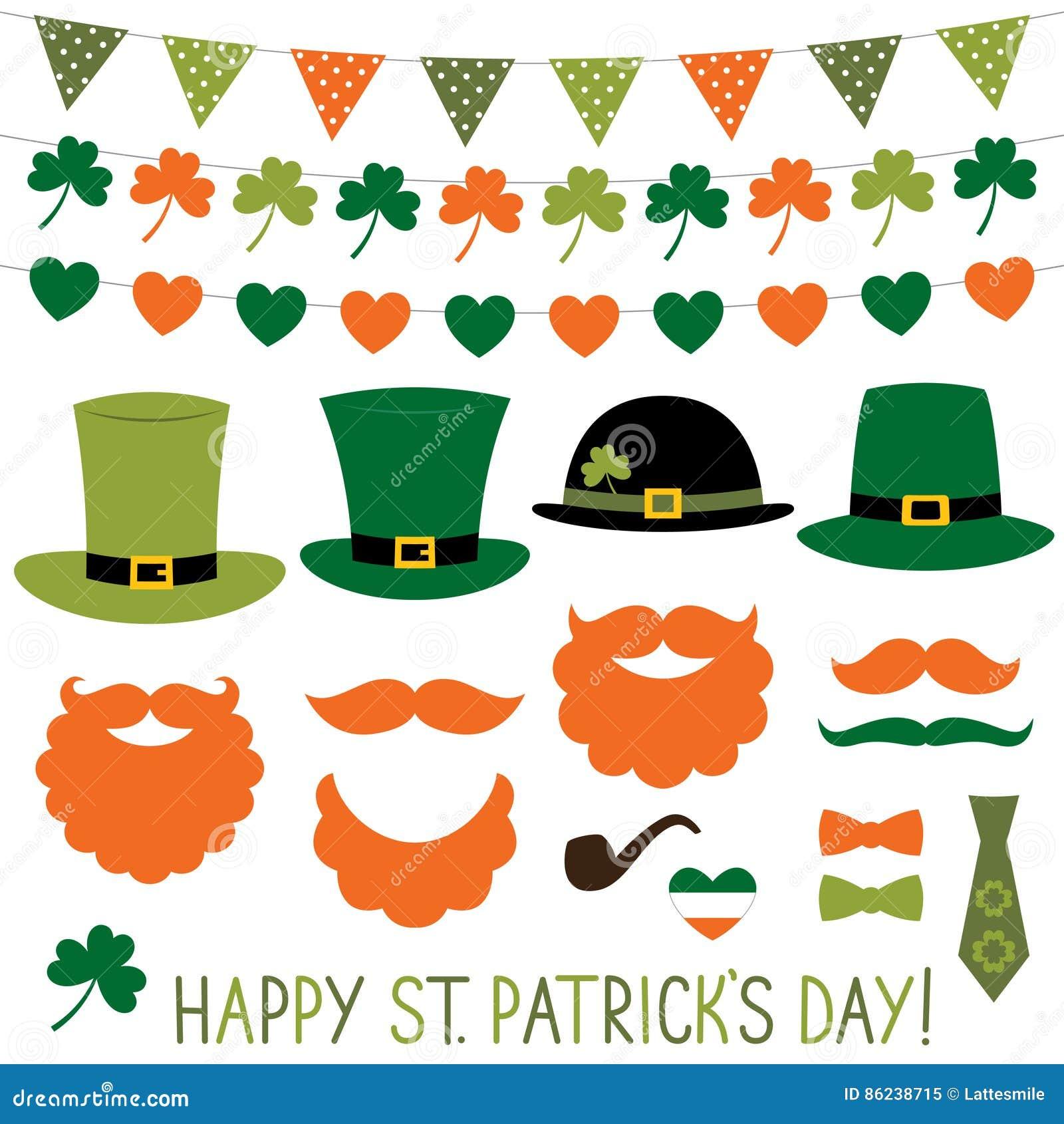 Hattar och garnering för dag för St Patrick ` s ställde in
