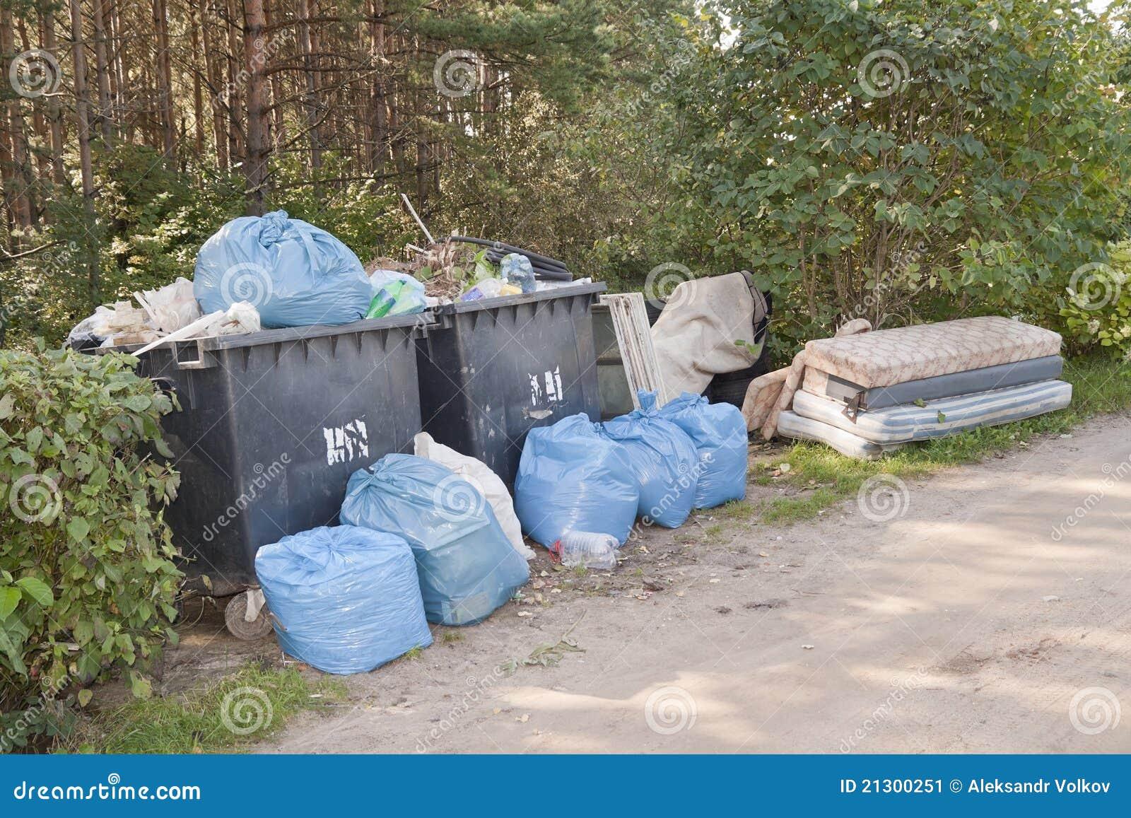 Stockbild: haufen des abfall- und haushaltsabfalls im wald