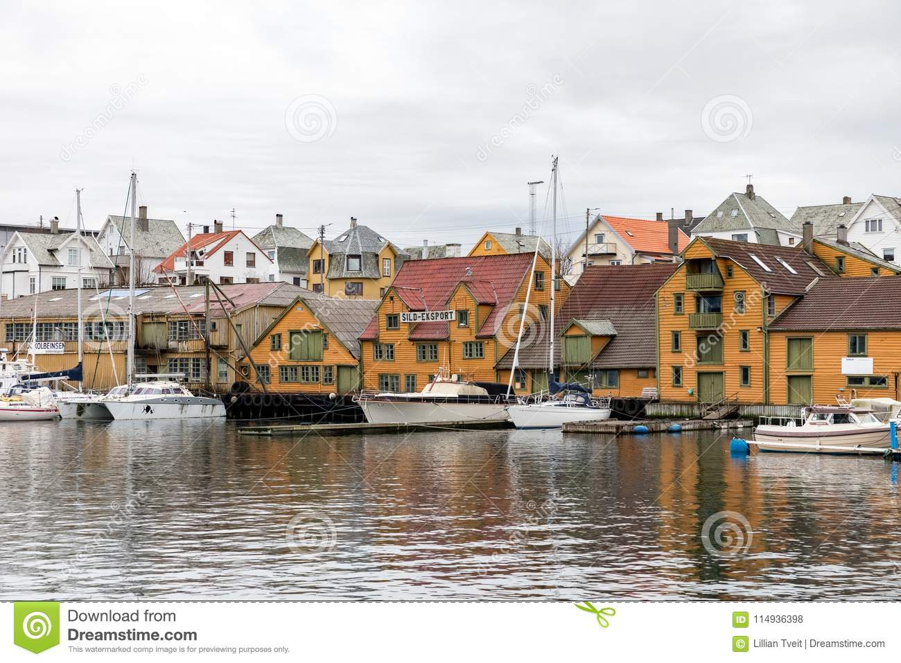 Haugesund, Norway - January 9, 2018: Old Wooden Houses On The Island