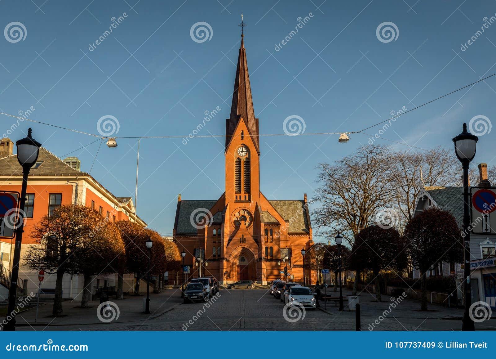 Haugesund Norwegia, Styczeń, - 9, 2018: Kościół w kirke lub Nasz wybawicielach Kościelnych miasta, Var frelsers,
