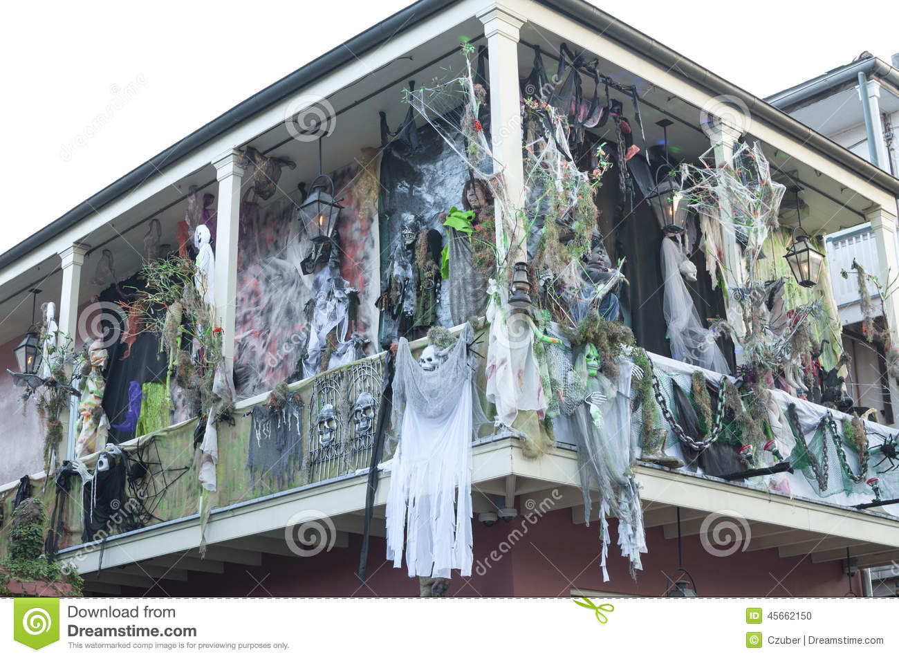 haunted halloween decorations on bourbon street editorial. Black Bedroom Furniture Sets. Home Design Ideas