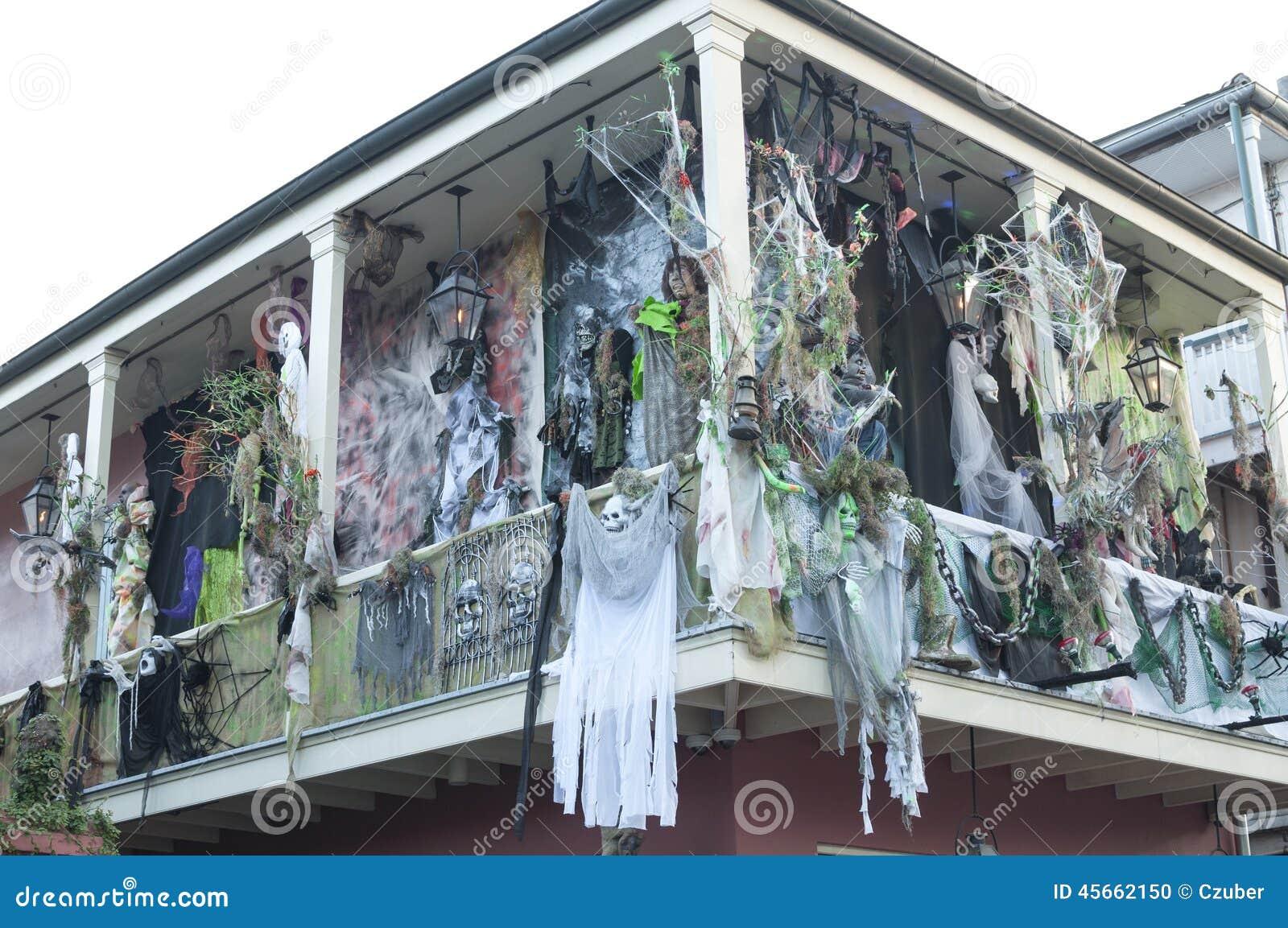 Haunted Halloween Decorations On Bourbon Street Editorial Image Image 45662150