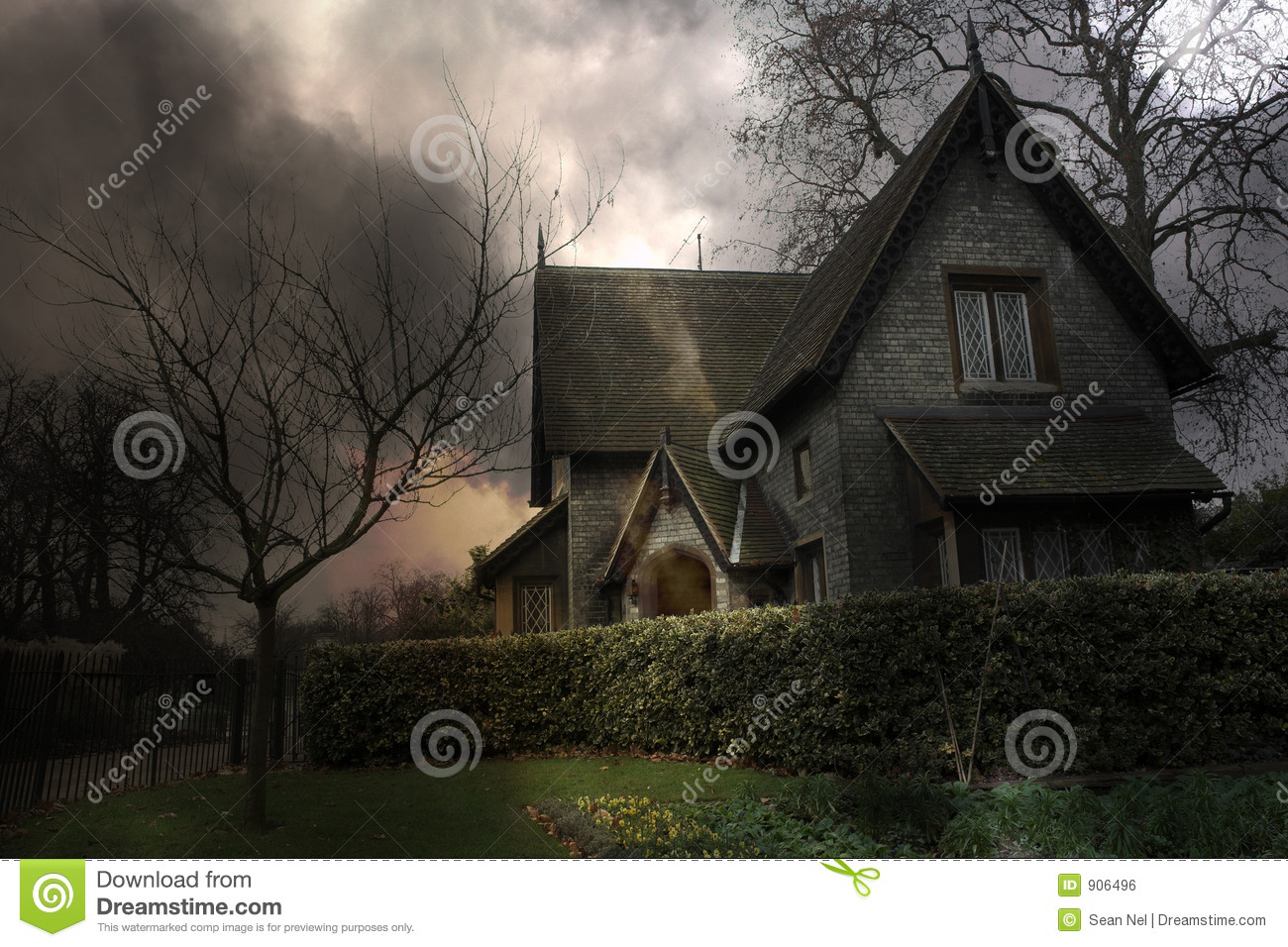 Haunted House #3 stock photo  Image of city, scare, cloudy