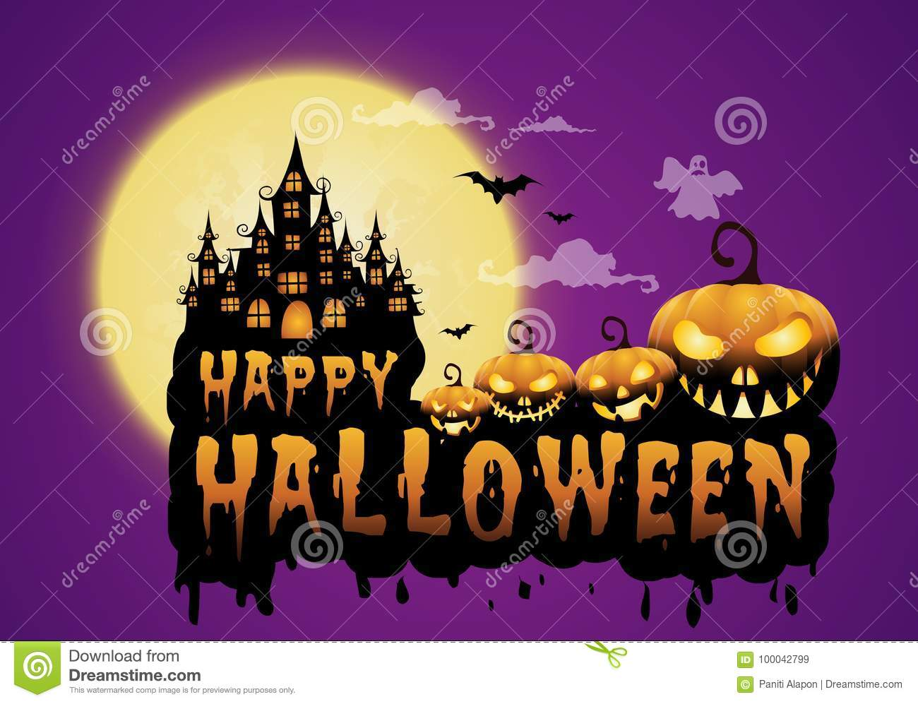 Haunted House And Full Moon With Pumpkins And Ghost Party Happy Halloween Night Background Stock Vector Illustration Of Nature House 100042799