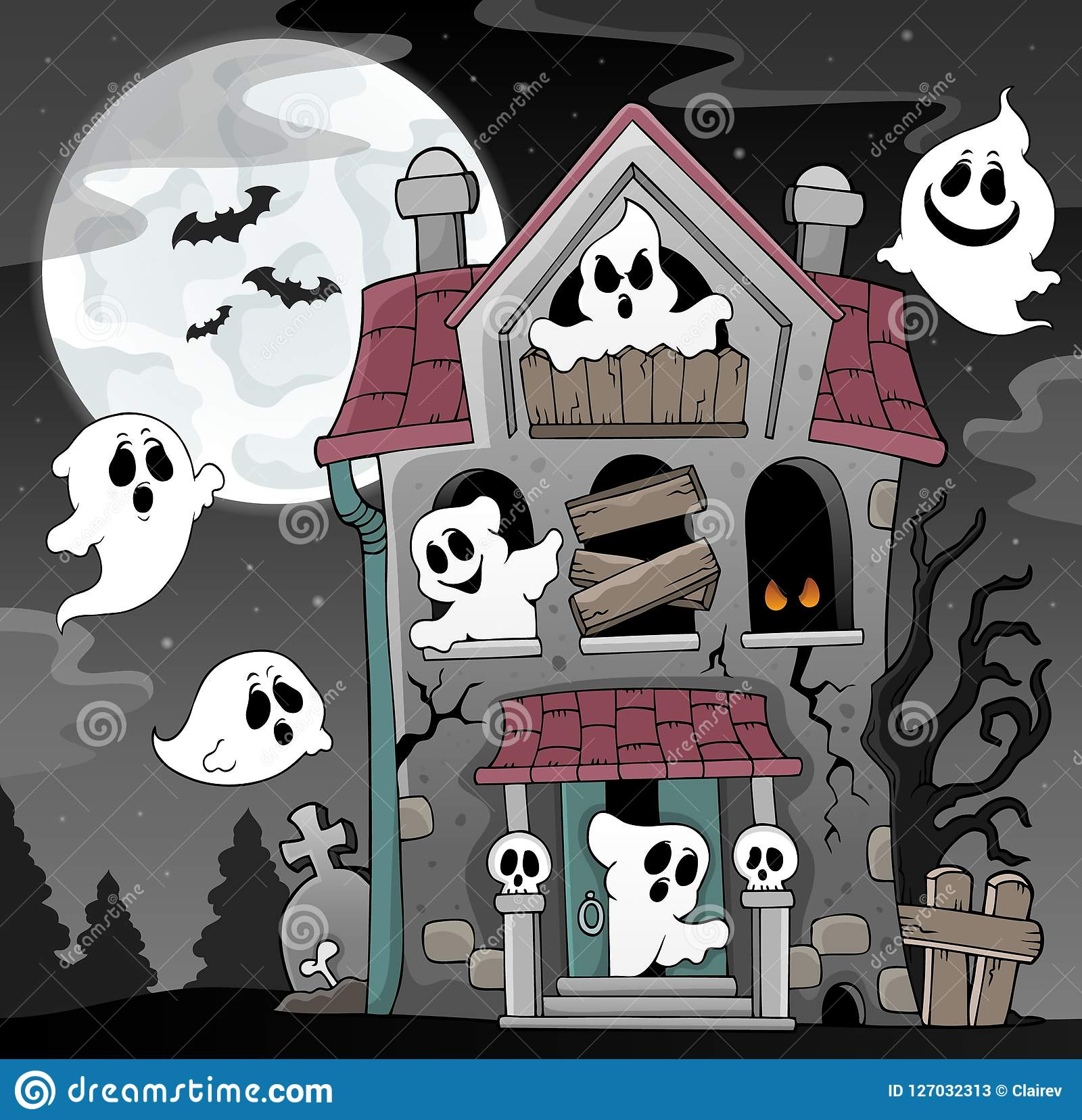 Haunted House With Ghosts Theme 4 Stock Vector - Illustration of