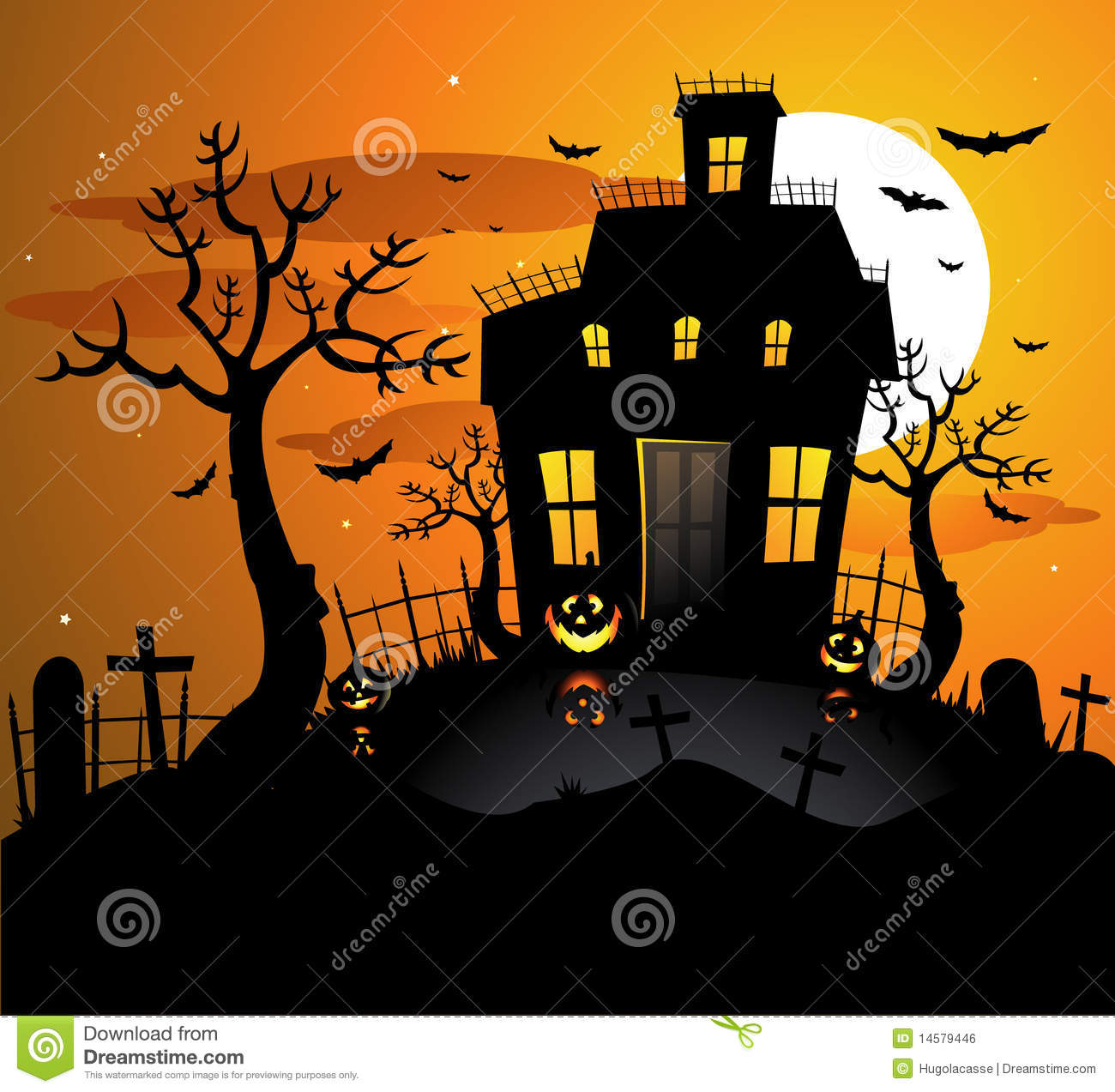 haunted house halloween background stock vector