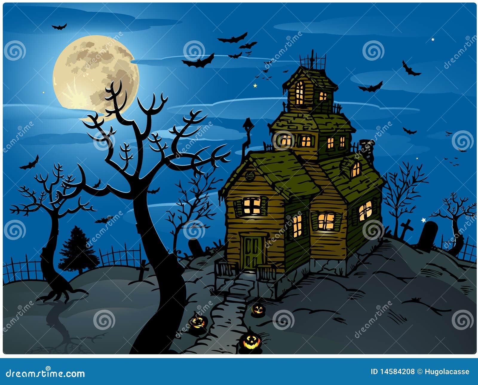 Haunted House Halloween Background Stock Illustration ...