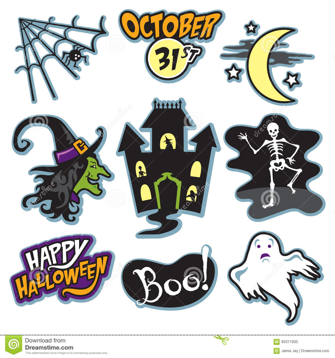 Haunted House Halloween Collection With Witch Skeleton