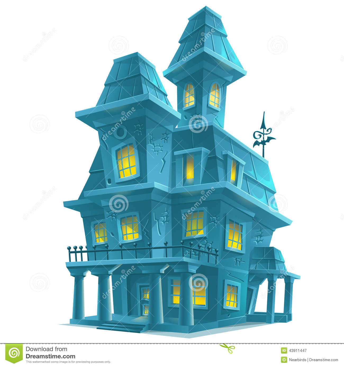 Halloween House Decorations: Haunted House In Halloween On White Background Stock