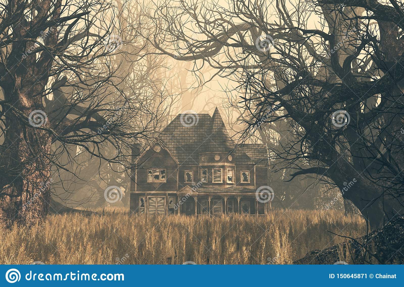 Haunted House Scene In Creepy Forest Stock Illustration