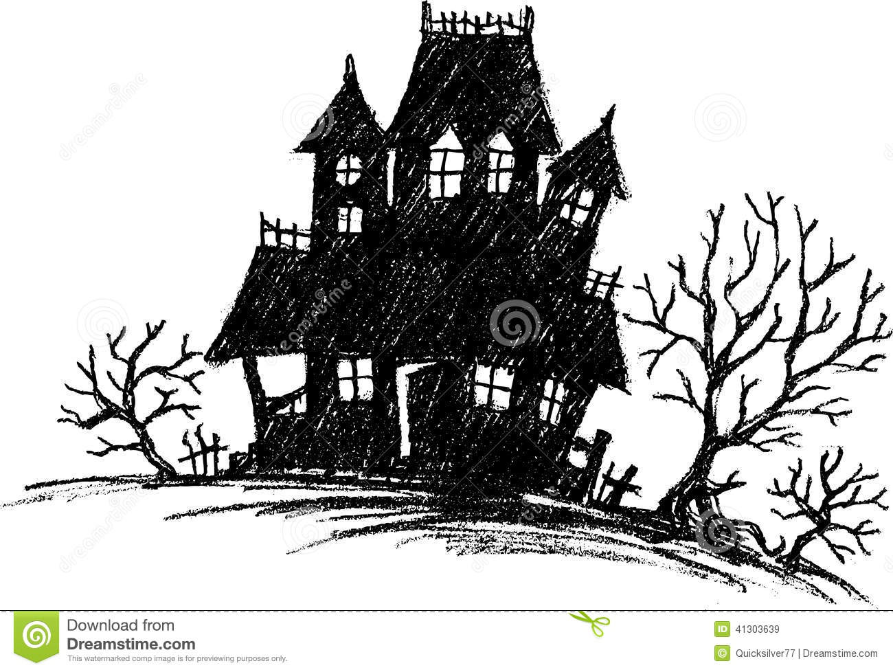 Line Art House Vector : Haunted house sketch stock vector image