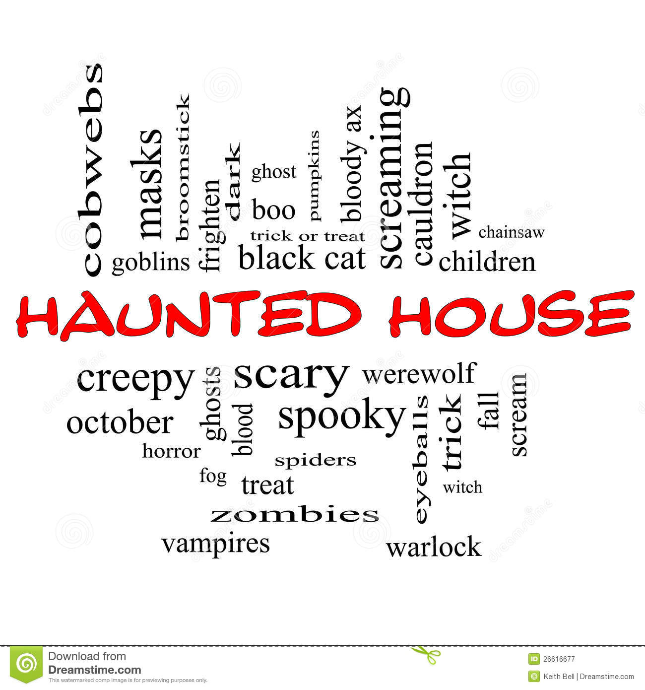 Haunted House Word Cloud Concept In Red & Black Stock Illustration