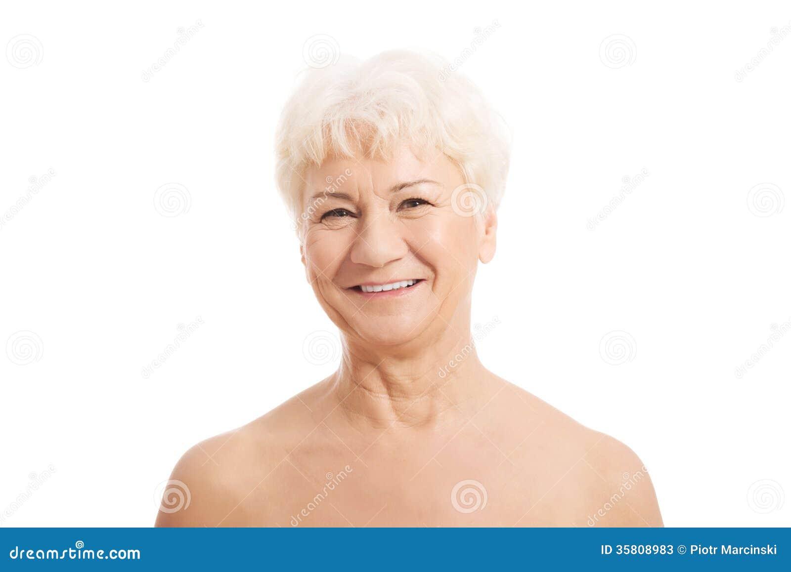 Haupt- und die Schultern einer alten nacktes Frau.