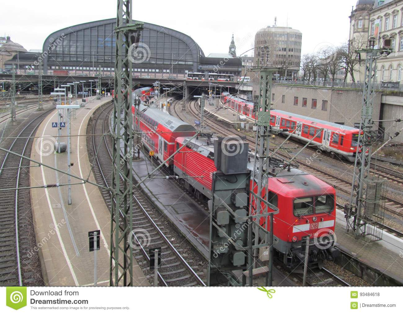 Hauptbahnhof in Hamburg, Germany. It is the main railway station in the city, the busiest in the country and the second