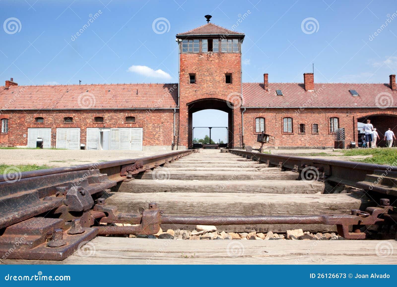 Haupteingang Auschwitz-Birkenau mit Gleisen.