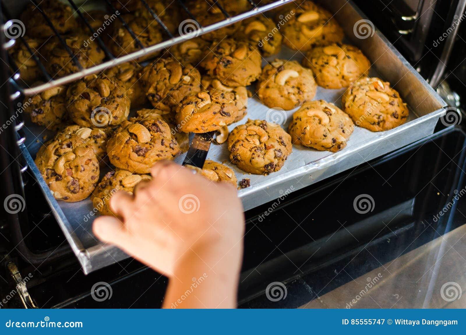 Hauptplätzchen im Ofenbehälter