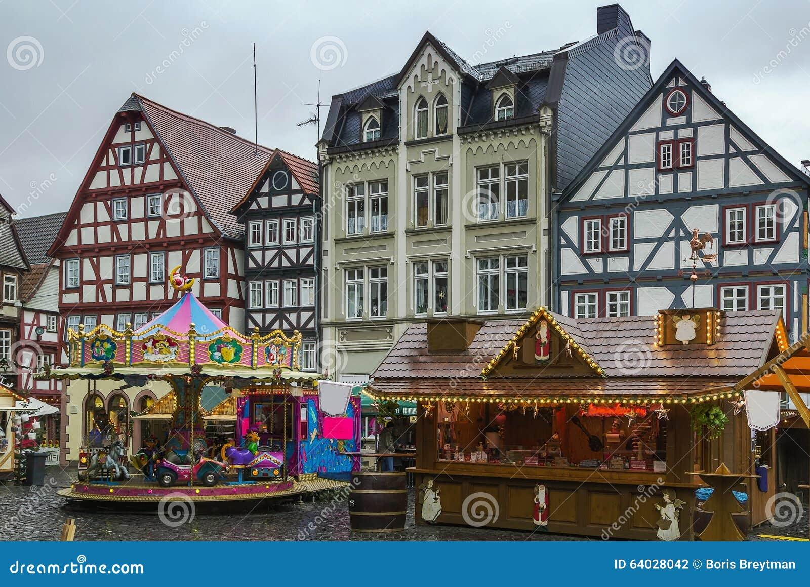 Alsfeld Weihnachtsmarkt.Hauptplatz Von Alsfeld Deutschland Stockfoto Bild Von Europa