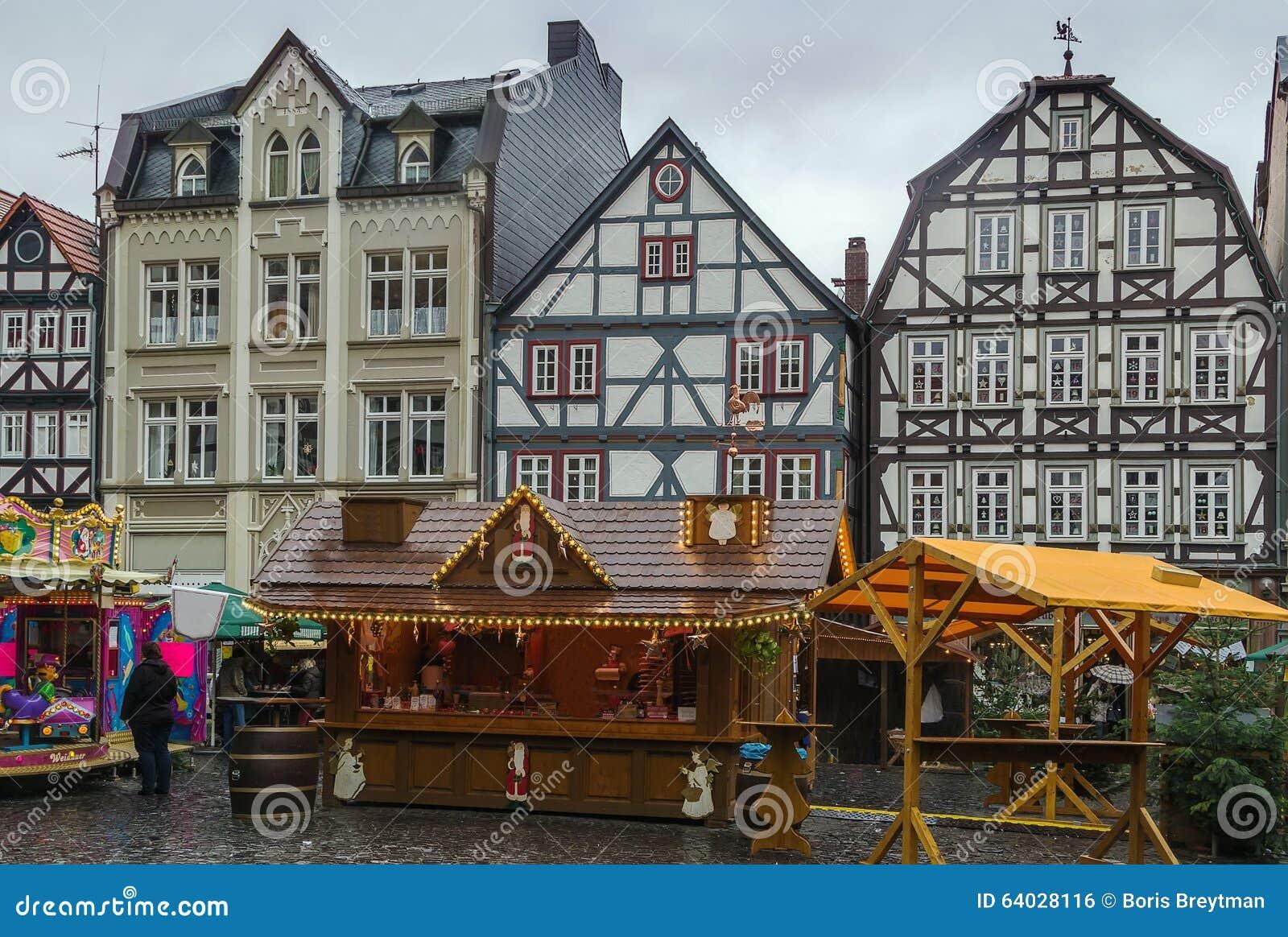 Alsfeld Weihnachtsmarkt.Hauptplatz Von Alsfeld Deutschland Stockfoto Bild Von Gebäude