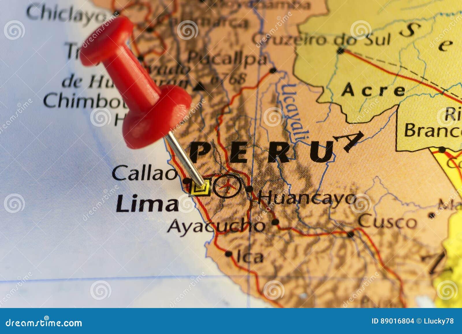 Lima Peru Karte.Hauptstadt Von Peru Lima Steckte Karte Fest Stock Abbildung
