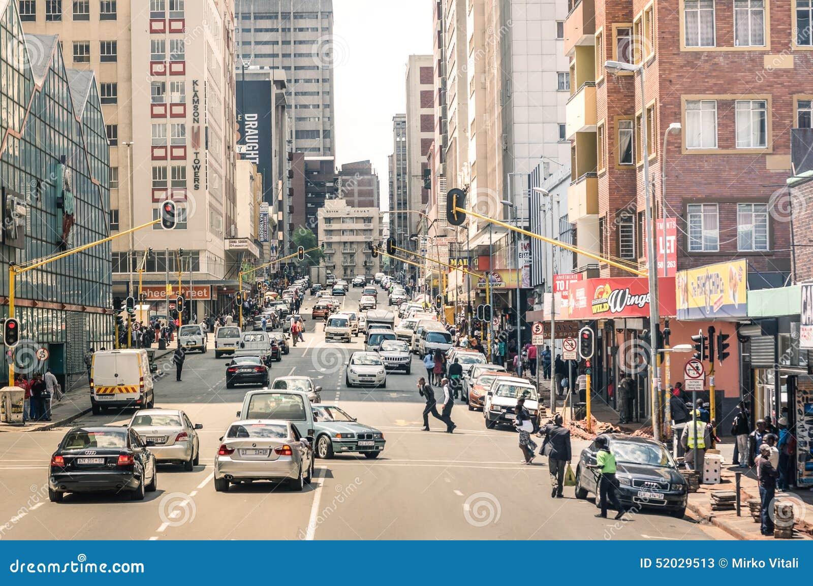 Hauptverkehrszeit und Stau in Johannesburg Südafrika
