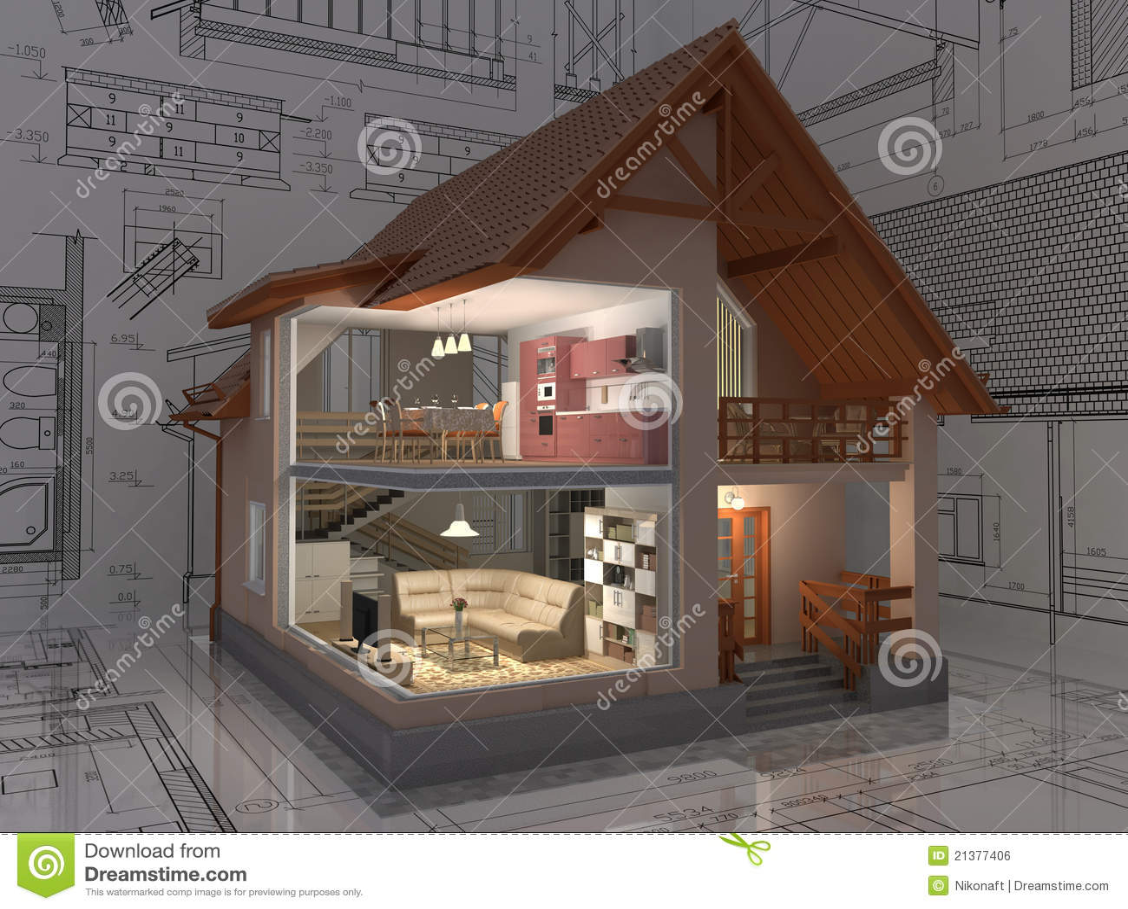 Haus. stock abbildung. Illustration von gebäude, tür - 21377406
