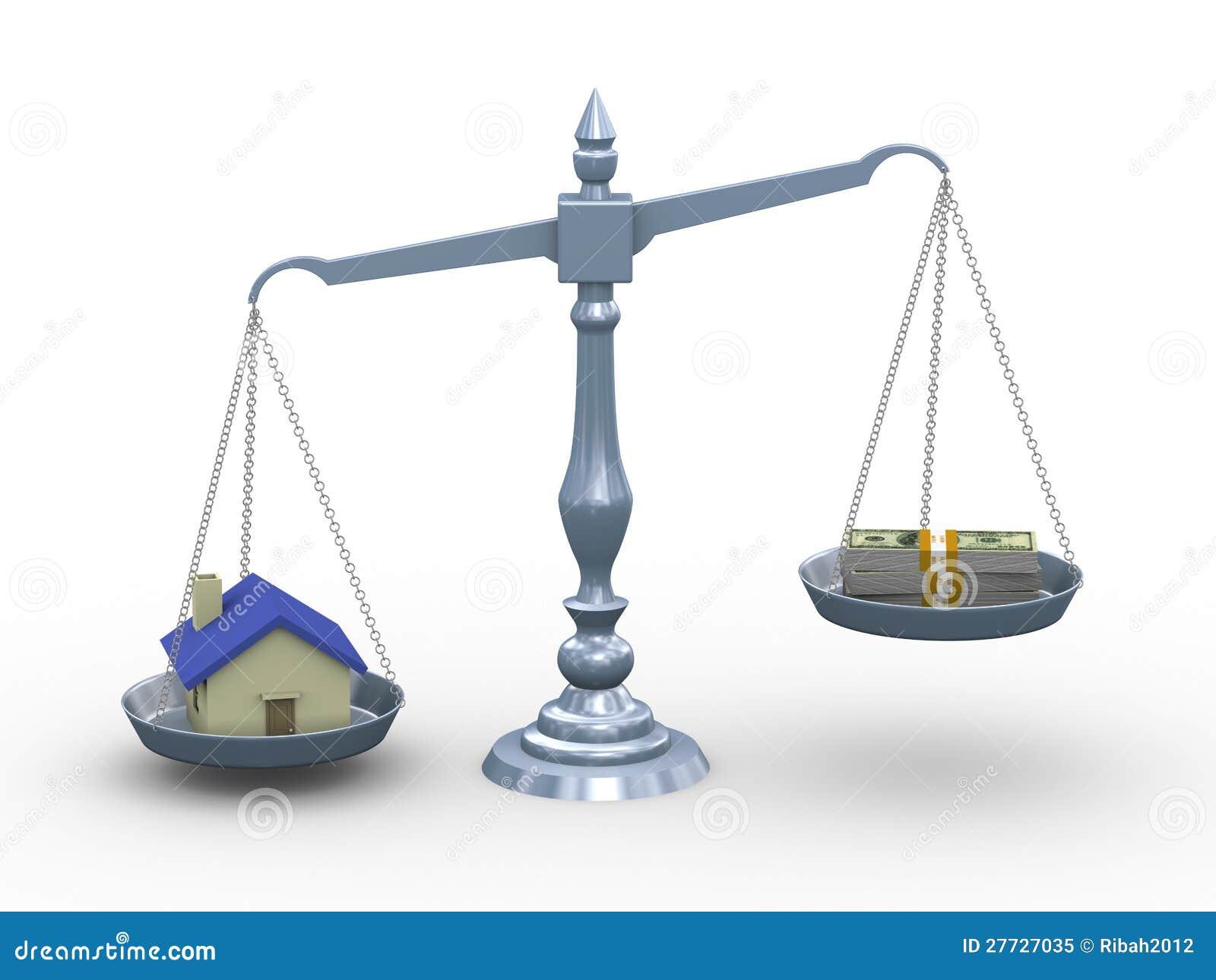 Haus 3d und Geld auf Skala